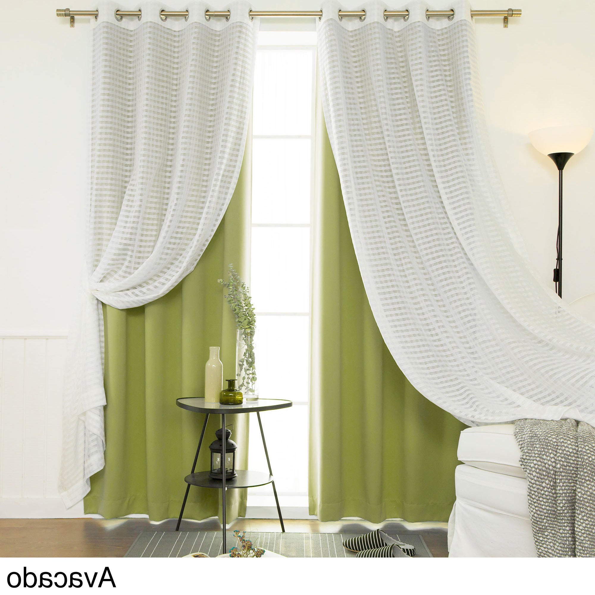 "Aurora Home Mix & Match Blackout And Check Sheer 4 Piece Curtain Panel Set – 52""w X 84""l Within Newest Bethany Sheer Overlay Blackout Window Curtains (View 16 of 20)"