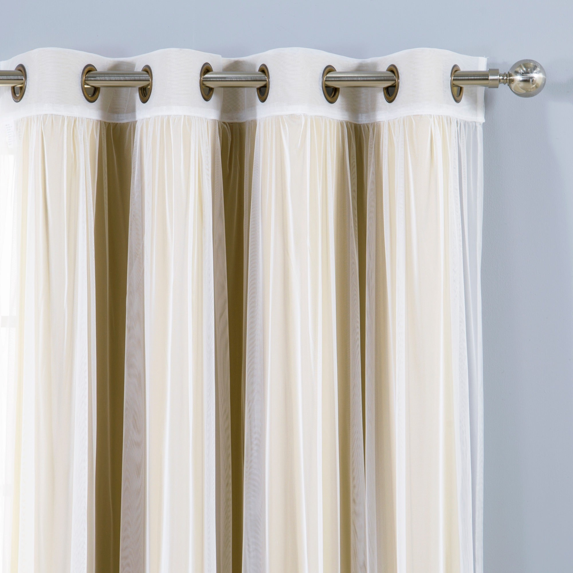 Aurora Home Mix & Match Blackout Tulle Lace Bronze Grommet 4 Piece Curtain Panel Set Within Preferred Mix & Match Blackout Tulle Lace Bronze Grommet Curtain Panel Sets (View 6 of 20)