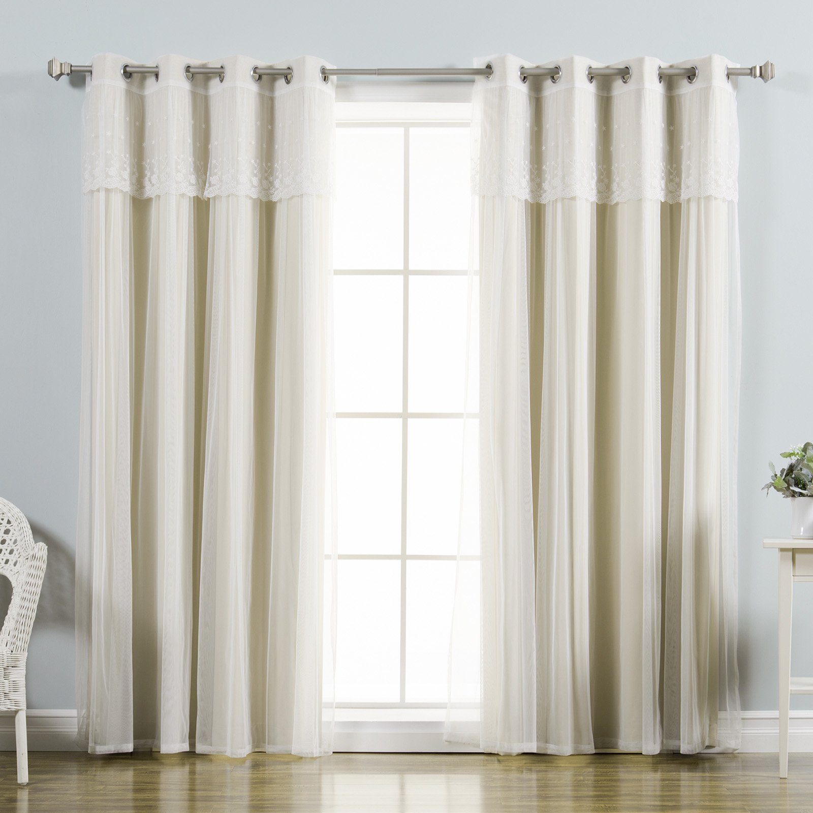 Aurora Home Mix & Match Tulle Sheer With Attached Valance And Blackout 4 Piece Curtain Panel Pair Regarding Well Known Tulle Sheer With Attached Valance And Blackout 4 Piece Curtain Panel Pairs (View 19 of 20)