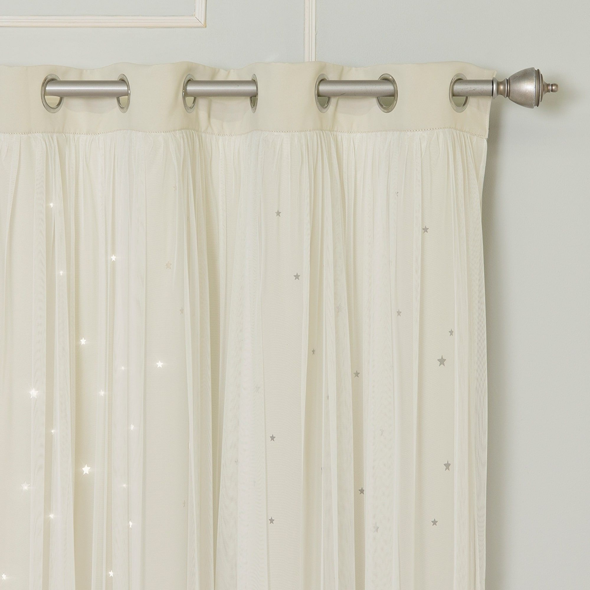 Aurora Home Star Punch Tulle Overlay Blackout Curtains – N/a Pertaining To Recent Star Punch Tulle Overlay Blackout Curtain Panel Pairs (View 8 of 20)