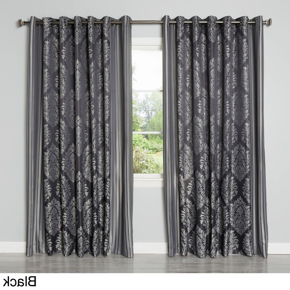 Aurora Home Wide Width Damask Jacquard Grommet 84 Inch With 2021 Whitman Curtain Panel Pairs (View 16 of 20)