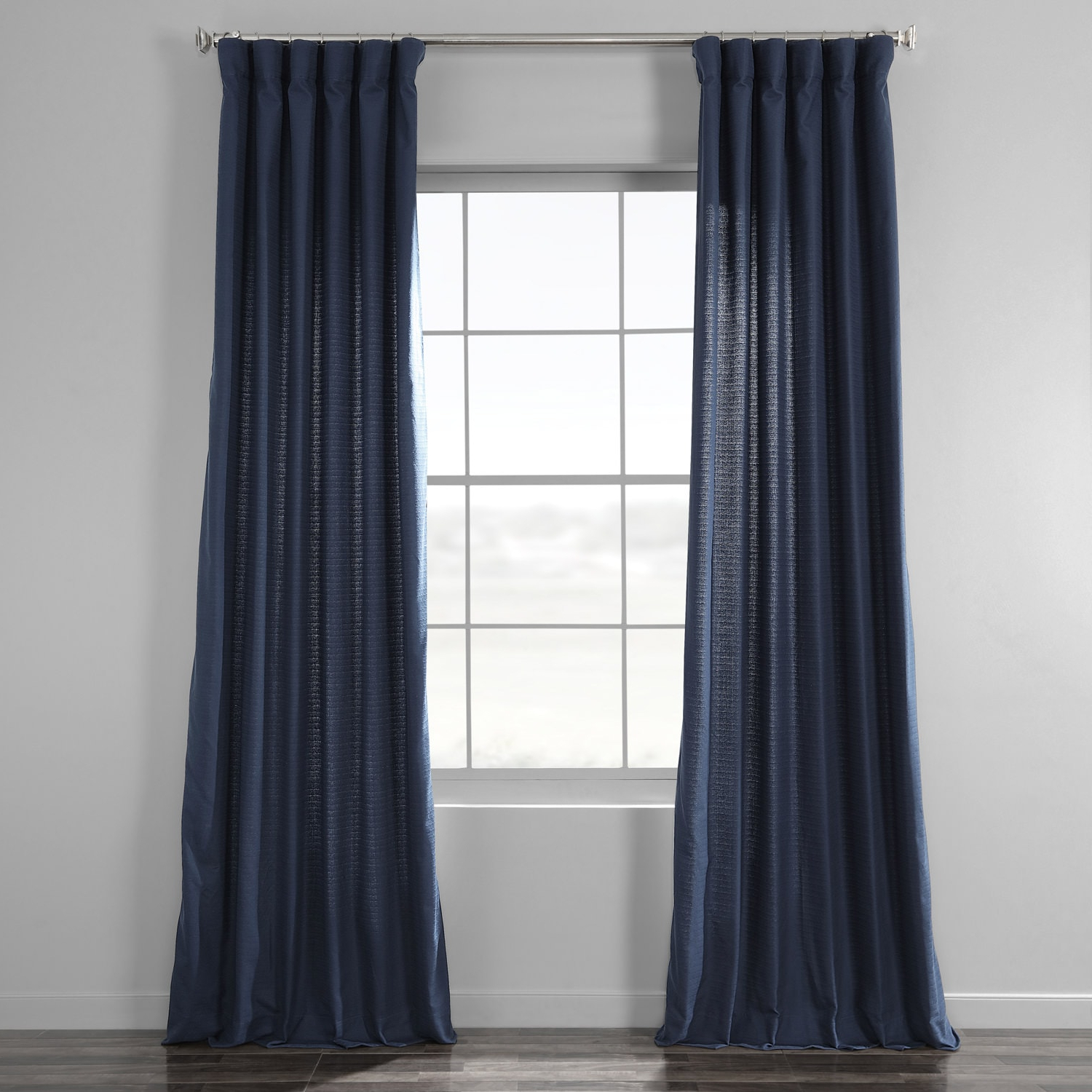 Bark Weave Solid Cotton Curtains Inside Latest Elegant Navy Bark Weave Solid Cotton Curtain (View 3 of 20)