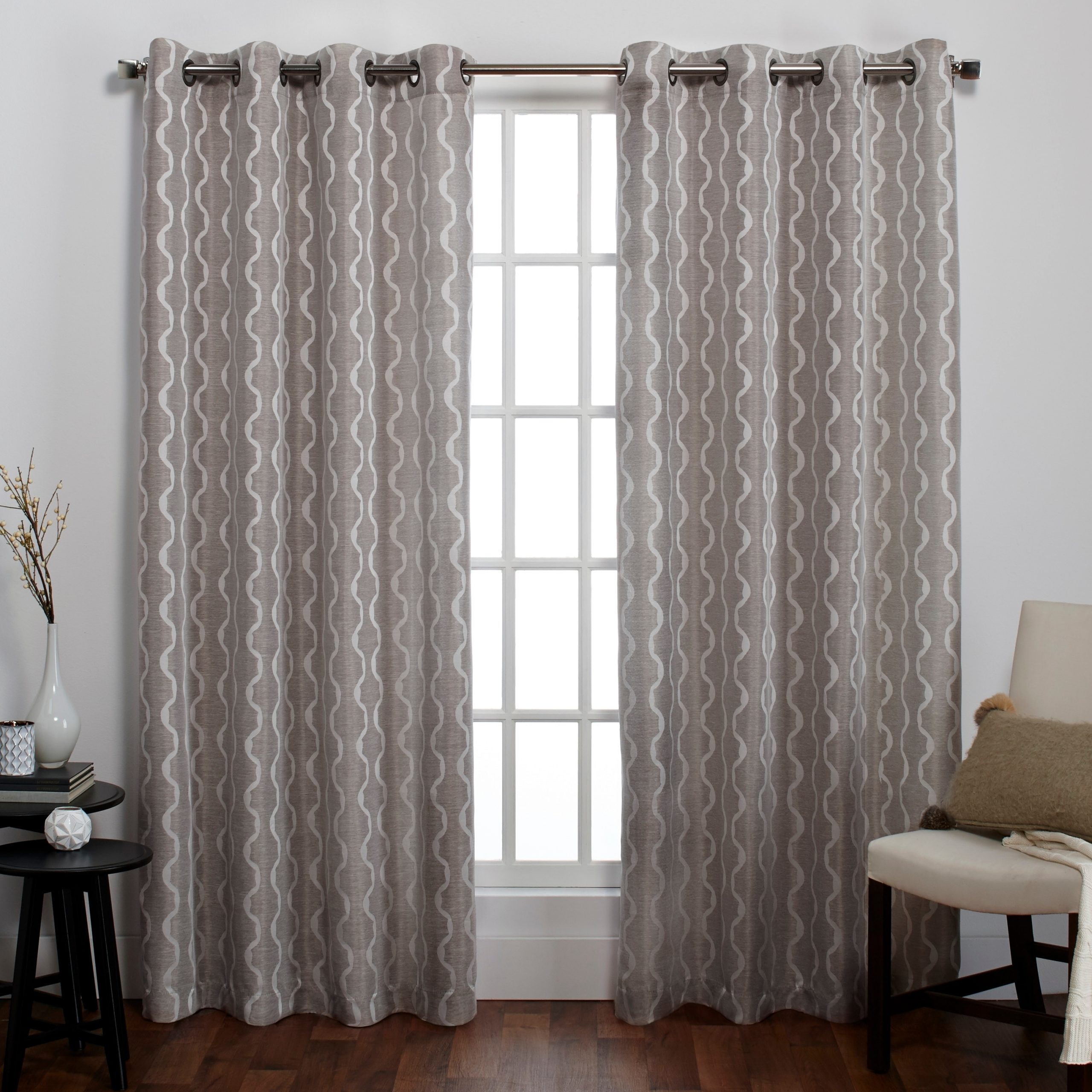 Baroque Linen Grommet Top Curtain Panel Pairs With Most Recent Ati Home Baroque Linen Look Window Curtain Panel Pair With (View 2 of 20)