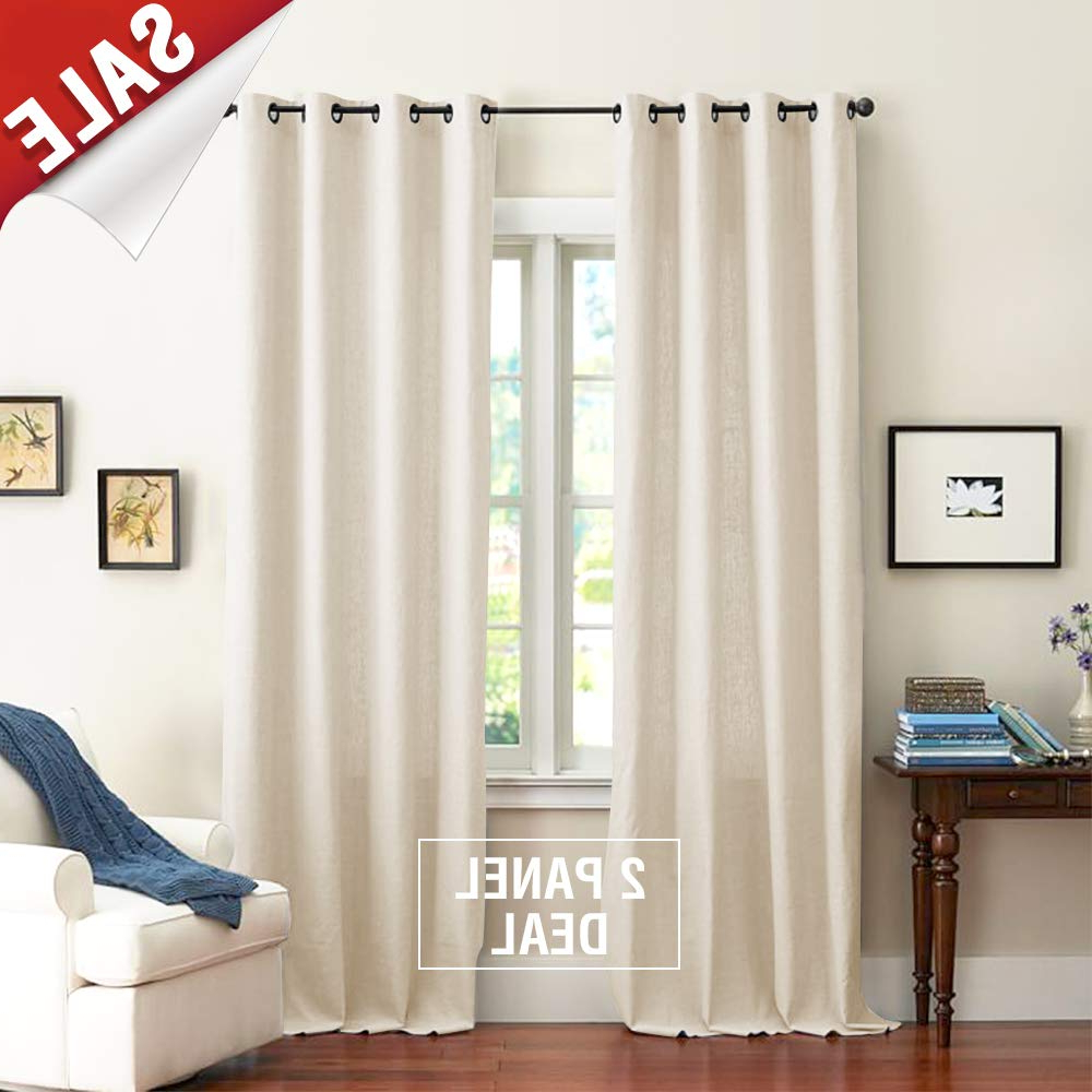 Beige Cotton Curtains For Bedroom Solid Cotton Curtains 63 Inches Long Window Curtain Panels For Living Room Grommet Top, 2 Panels With Regard To Well Known Solid Cotton Curtain Panels (View 3 of 20)