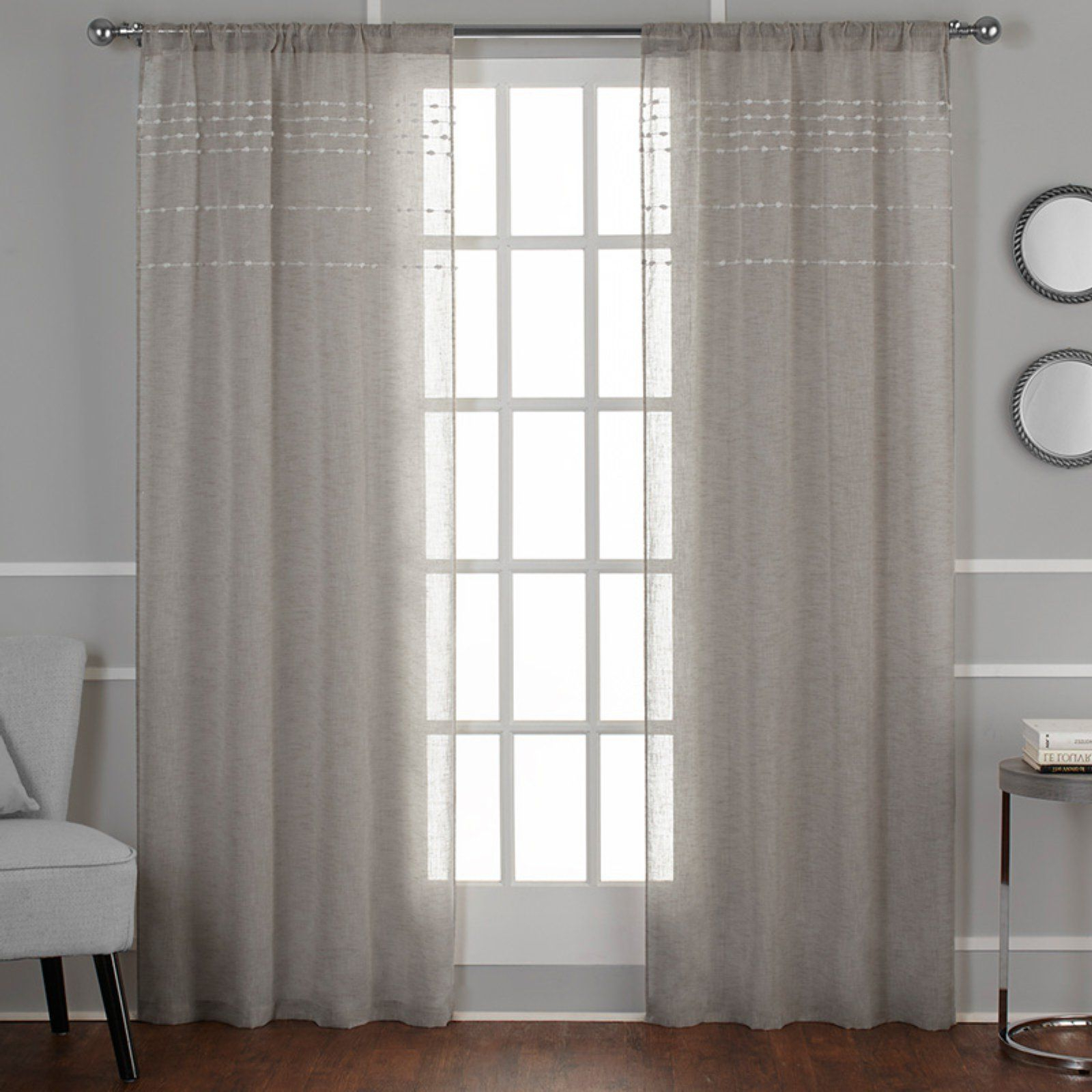 Belgian Sheer Window Curtain Panel Pairs With Rod Pocket Pertaining To Favorite Exclusive Home Davos Puff Embellished Belgian Sheer Window (View 3 of 20)