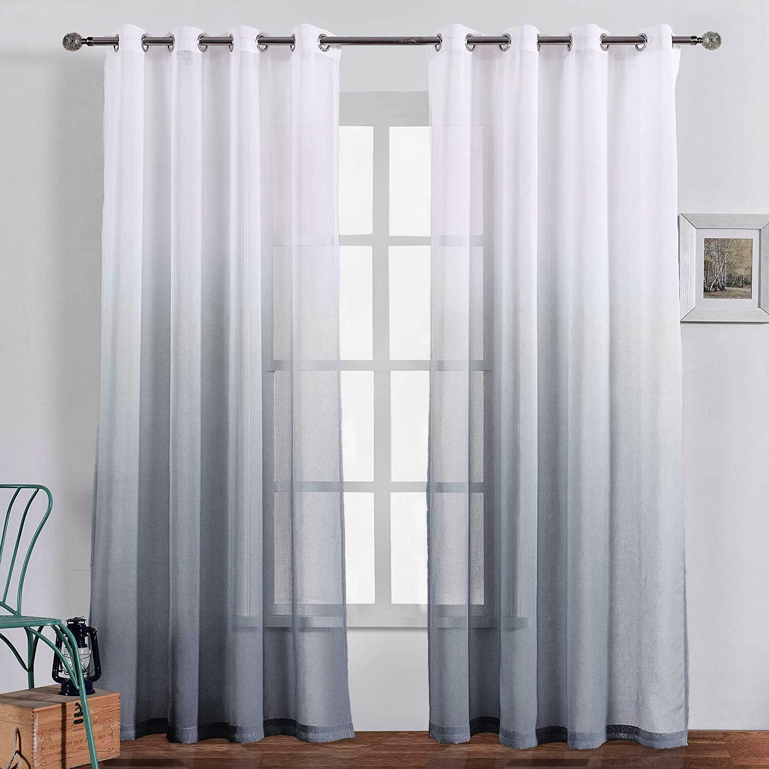 Bermino 54 X 95 Inch Faux Linen Sheer Curtains Grommet Ombre Semi Sheer Window C For Best And Newest Ombre Faux Linen Semi Sheer Curtains (View 5 of 20)
