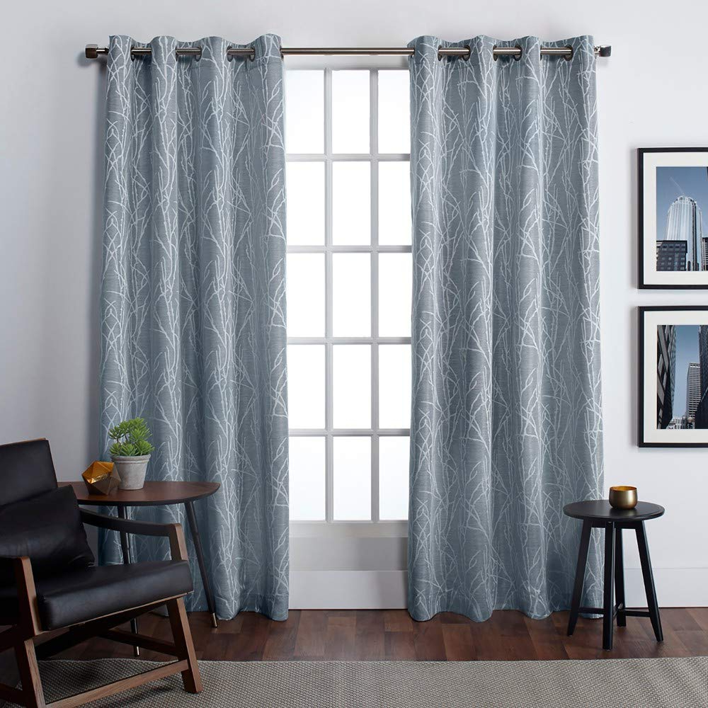Best And Newest Baroque Linen Grommet Top Curtain Panel Pairs Throughout Exclusive Home Finesse Grommet Top Curtain Panel Pair, Steel Blue, 54x (View 16 of 20)