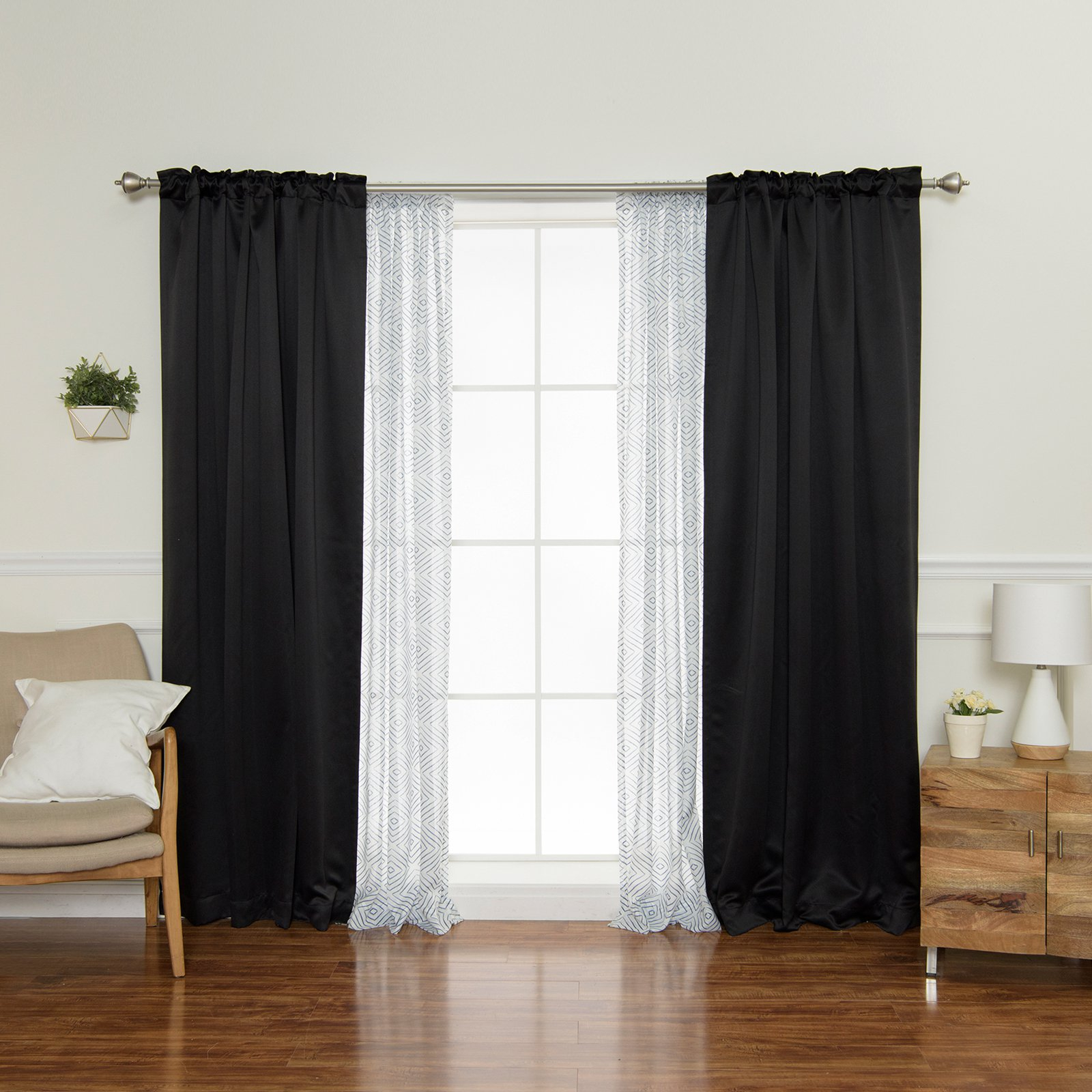Best And Newest Best Home Fashion Diamante And Blackout Mix And Match Inside Duran Thermal Insulated Blackout Grommet Curtain Panels (View 11 of 21)