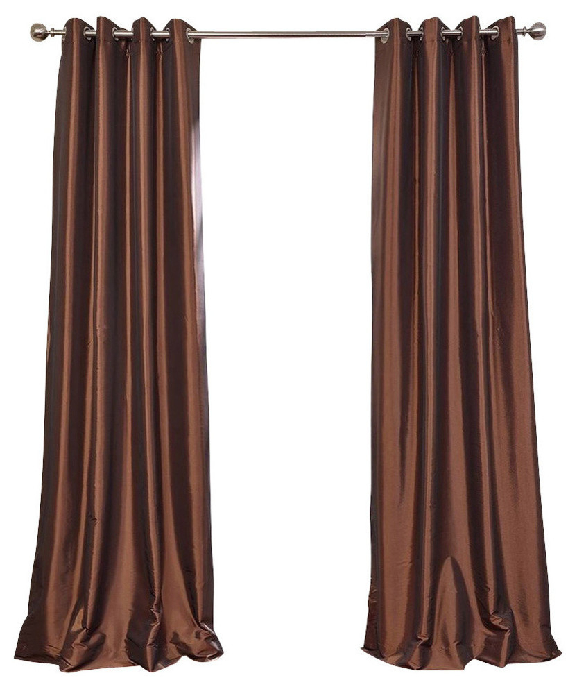 "Best And Newest Copper Brown Grommet Blackout Fauxsilk Taffeta Curtain Single Panel,  50""x120"" Regarding Faux Silk Taffeta Solid Blackout Single Curtain Panels (View 1 of 20)"