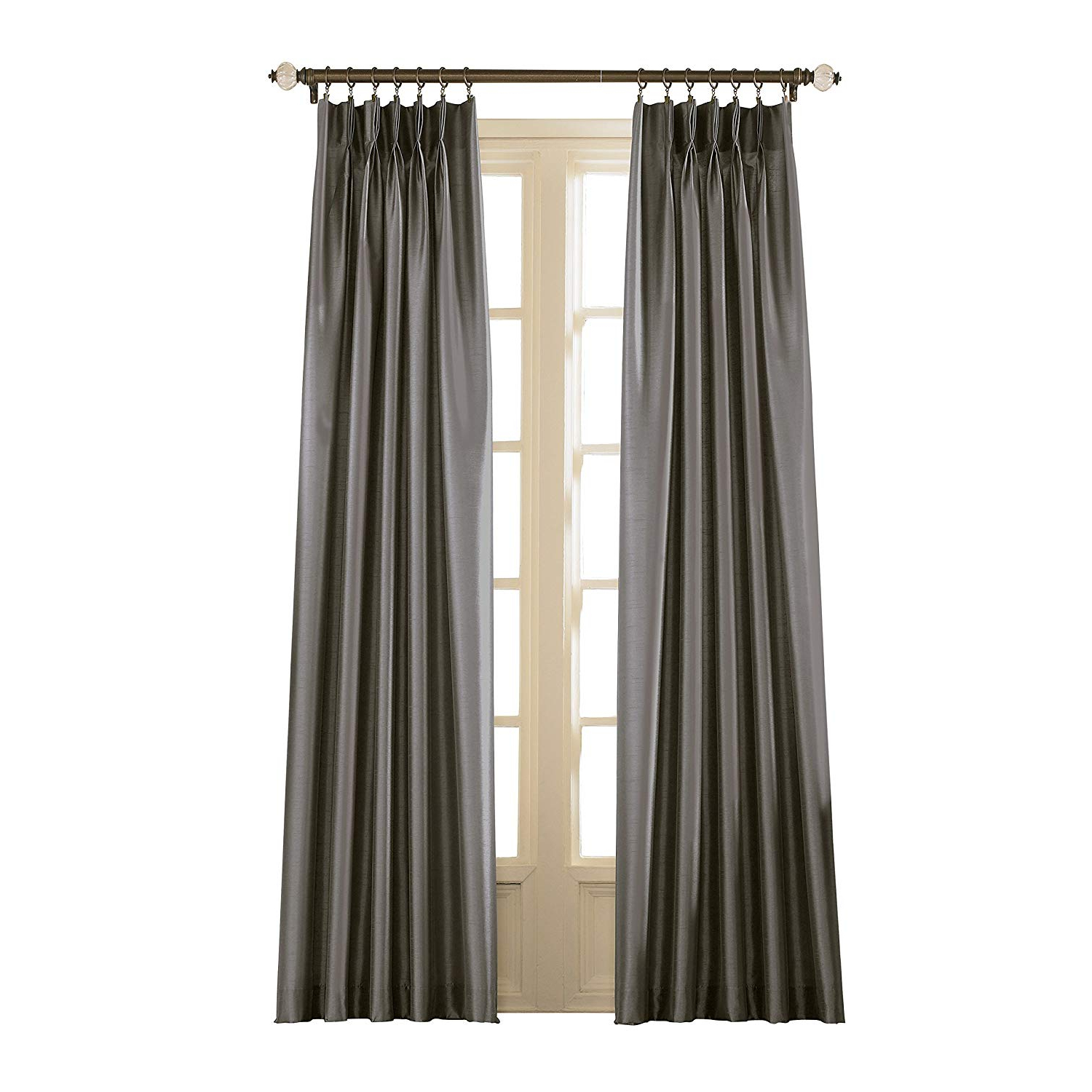 Best And Newest Curtainworks Marquee Pinch Pleat Curtain Panel, Pewter, Faux Silk, 30 Inch X 120 Inch, Solid With Solid Faux Silk Taffeta Graphite Single Curtain Panels (View 18 of 20)