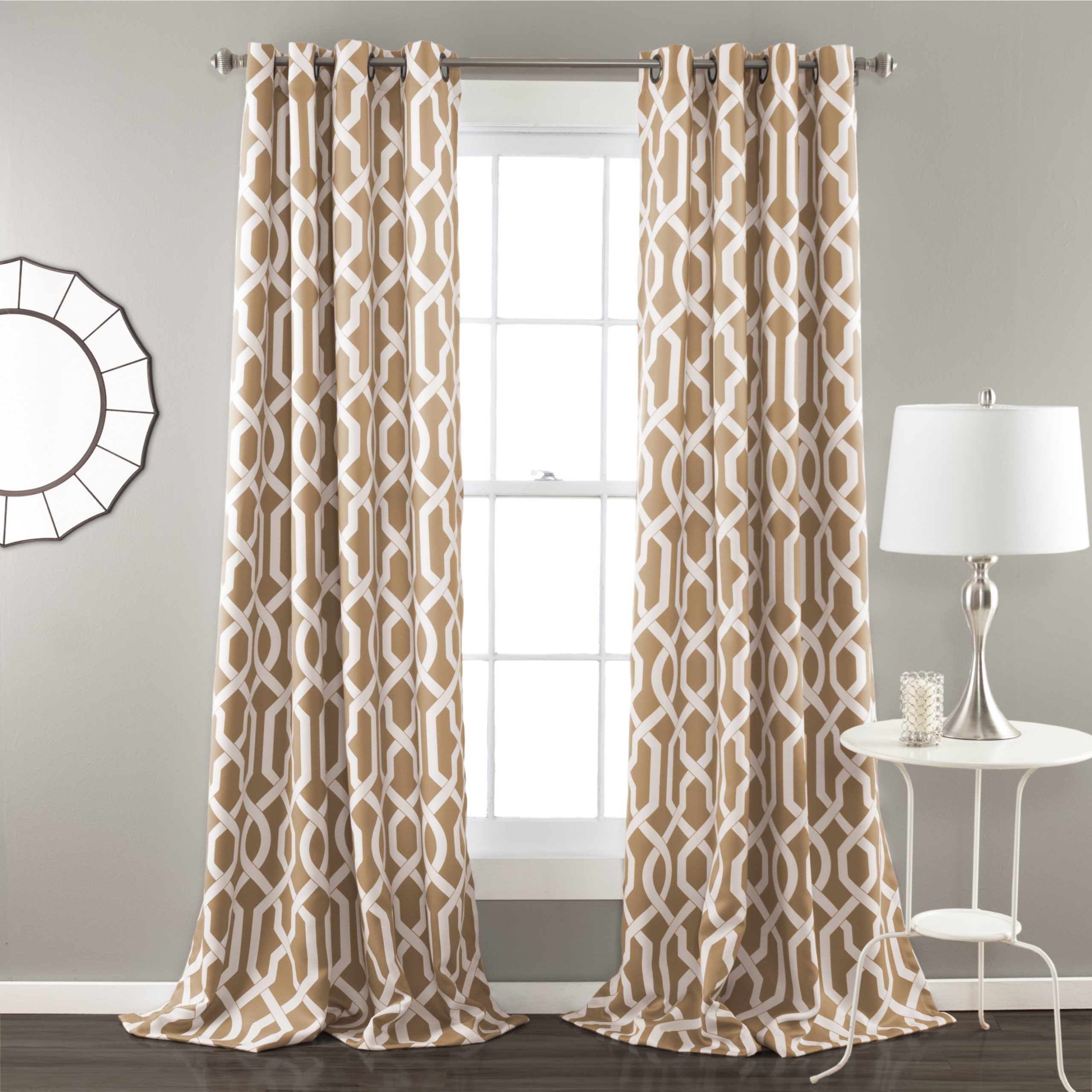 Best And Newest Details About Edward Trellis Room Darkening Window Curtain Taupe Set 52x84 Intended For Kaiden Geometric Room Darkening Window Curtains (View 10 of 20)