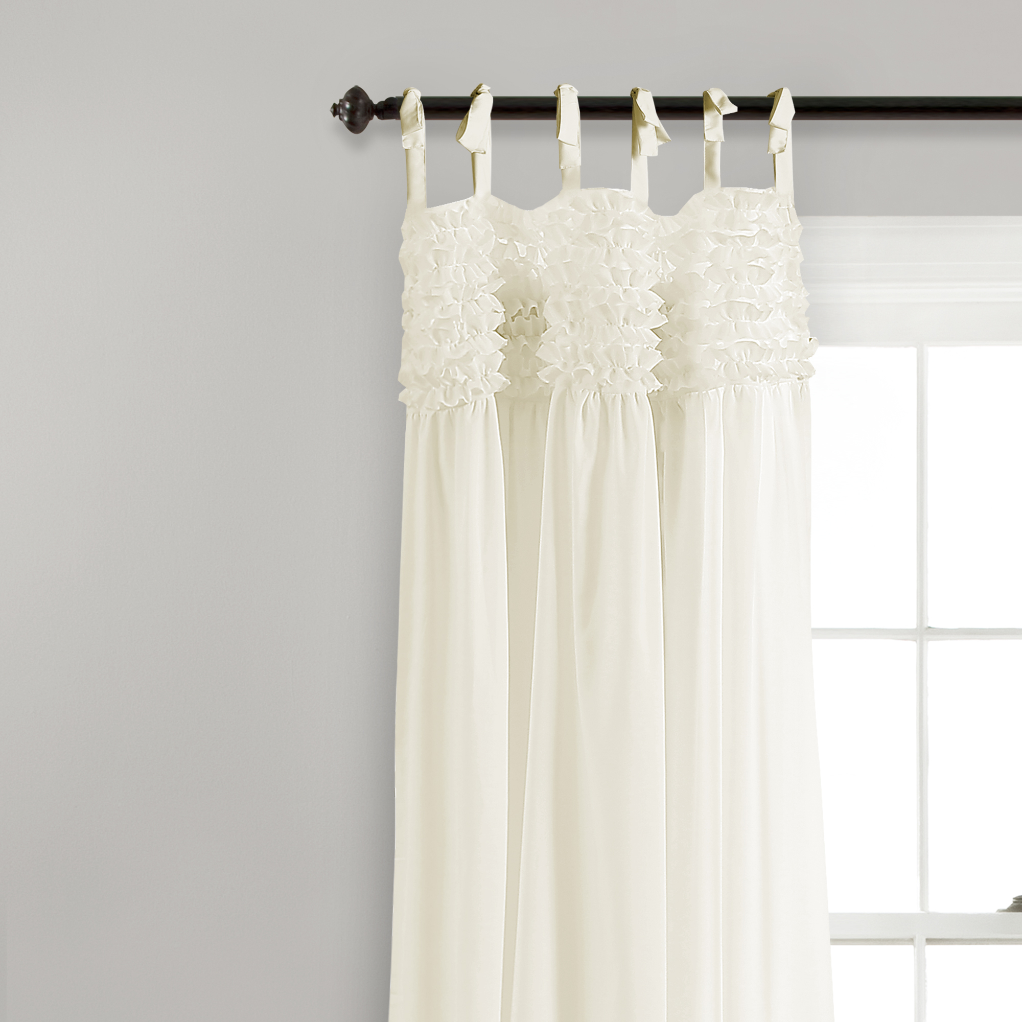Best And Newest Details About Lydia Ruffle Window Curtain Panels Ivory Set 40X84 Pertaining To Lydia Ruffle Window Curtain Panel Pairs (View 4 of 20)