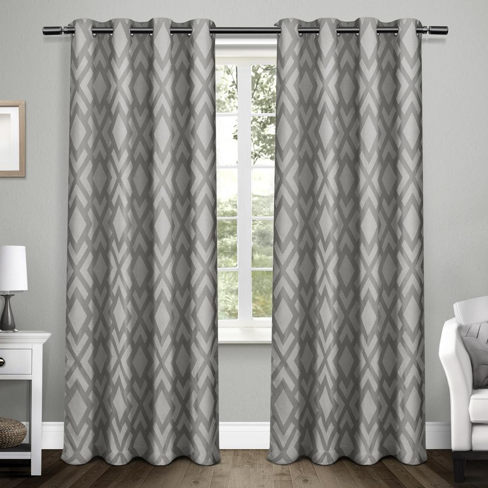 Best And Newest Easton Thermal Woven Blackout Grommet Top Curtain Panel Pairs With Regard To Exclusive Home Eh8059 01 2 108g Easton Jacquard Blackout Window Curtain Panel Pair, 54 X 108 Inch, Black Pearl (View 6 of 20)
