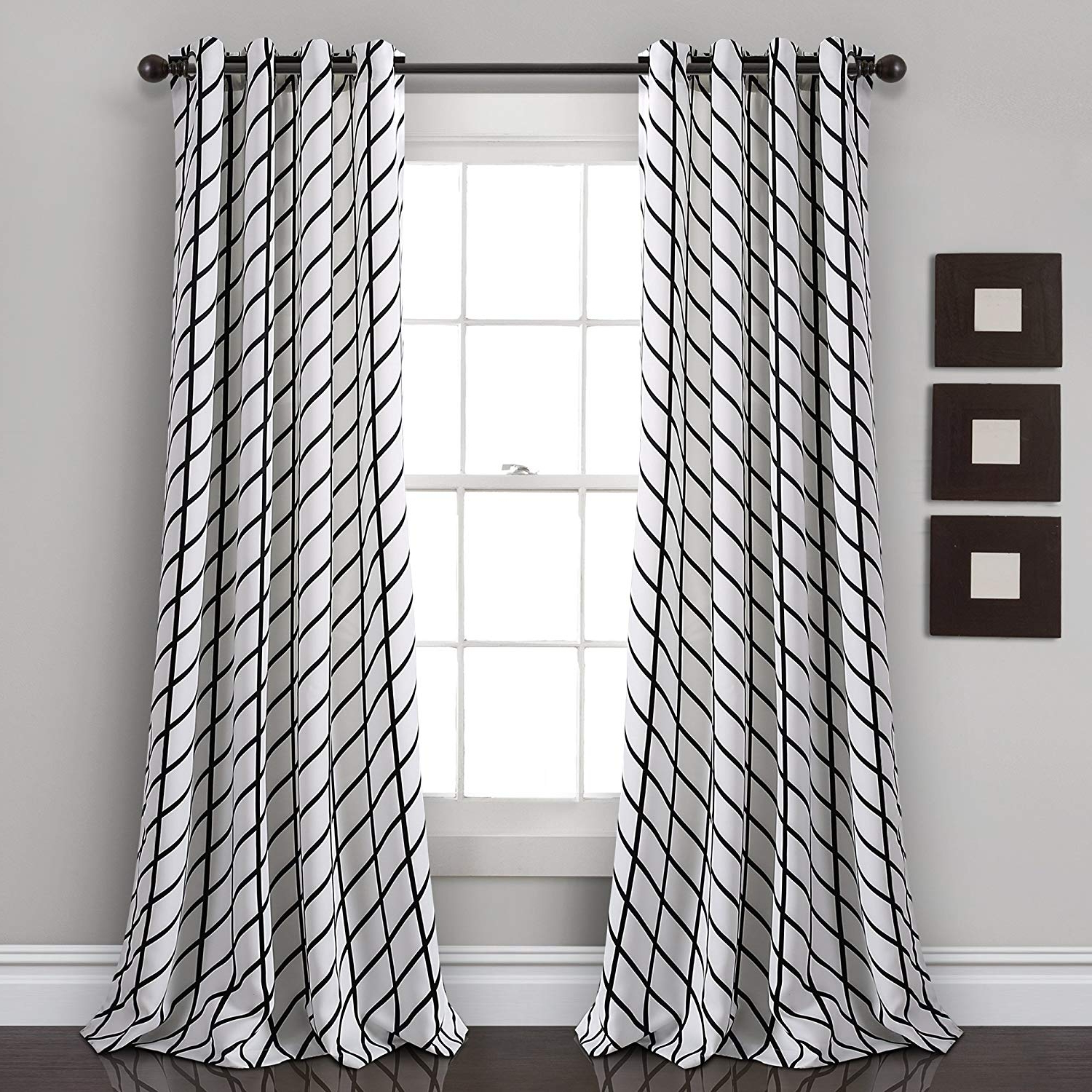 """Best And Newest Edward Moroccan Pattern Room Darkening Curtain Panel Pairs Throughout Lush Decor Feather Arrow Geo Room Darkening Window Curtain Panel Pair 84"""" X 52"""" White & Black (View 11 of 20)"""