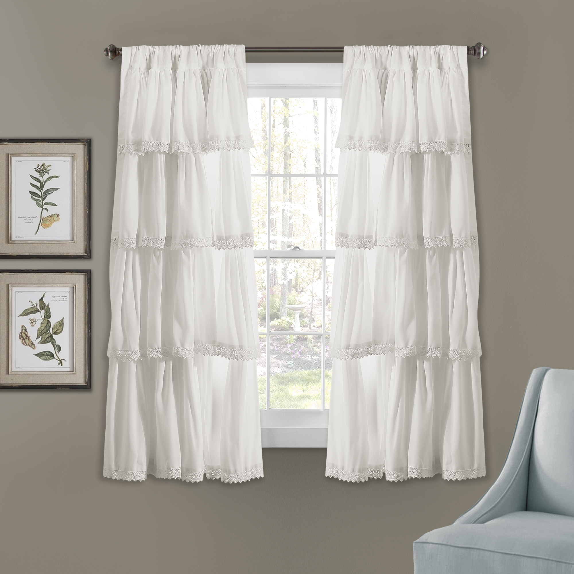 Best And Newest Ella Window Curtain Panels Intended For Ella Lace Ruffle Window Curtain Panels White Set 32x (View 4 of 20)