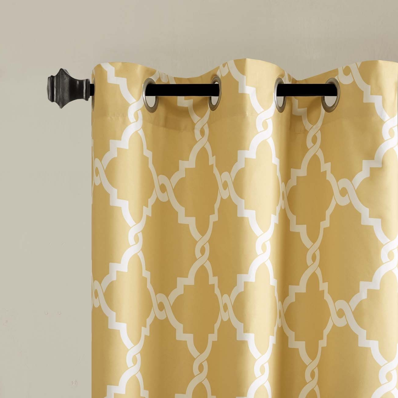 Best And Newest Essentials Almaden Fretwork Printed Grommet Top Curtain Panel Pairs With Madison Park Essentials Almaden Fretwork Printed Grommet Top Curtain Panel Pair (View 8 of 20)