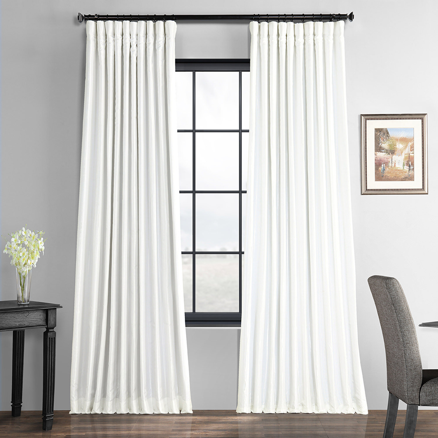 Best And Newest Faux Silk Extra Wide Blackout Single Curtain Panels Inside Faux Silk Extra Wide Taffeta Blackout Single Curtain Panel (View 3 of 20)