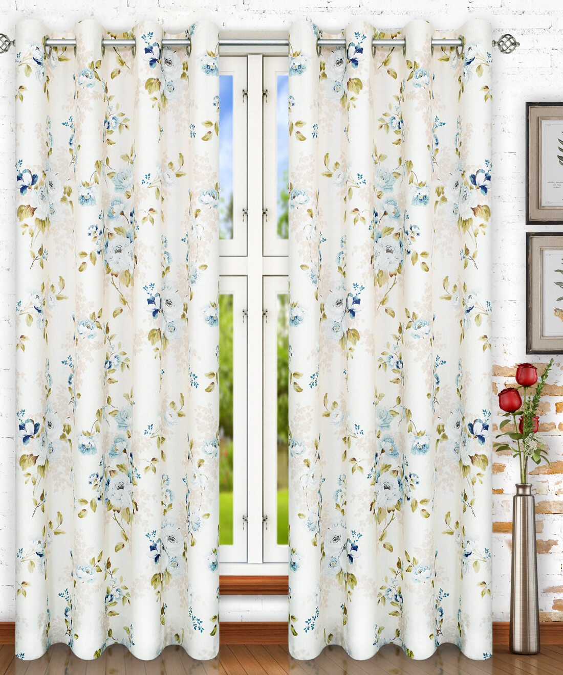 Best And Newest Forres Lined Top Nature/floral Semi Sheer Grommet Single Curtain Panel Regarding Lined Grommet Curtain Panels (View 19 of 20)