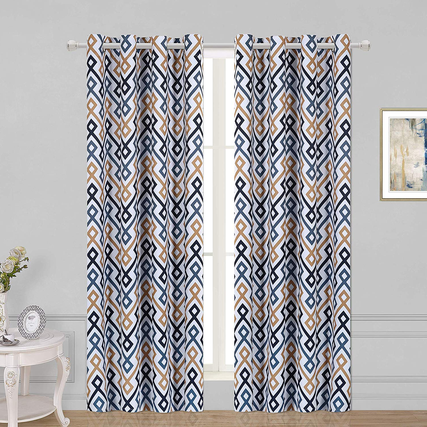 Best And Newest Geometric Print Textured Thermal Insulated Grommet Curtain Panels Inside Wontex Geometric Trellis Printed Thermal Insulated Blackout Curtains, Grommet Room Darkening Curtains For Living Room And Bedroom, Set Of 2 Curtain (View 9 of 20)