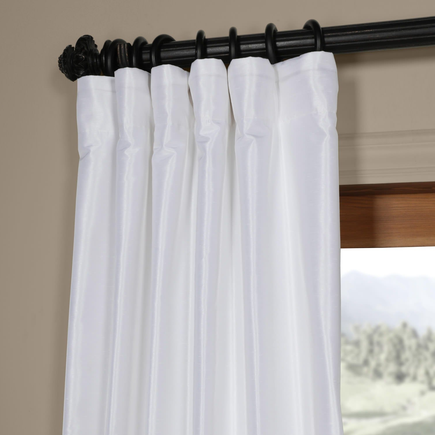 Best And Newest Ice White Vintage Faux Textured Dupioni Silk 108L Curtain Panel With Ice White Vintage Faux Textured Silk Curtain Panels (View 2 of 20)