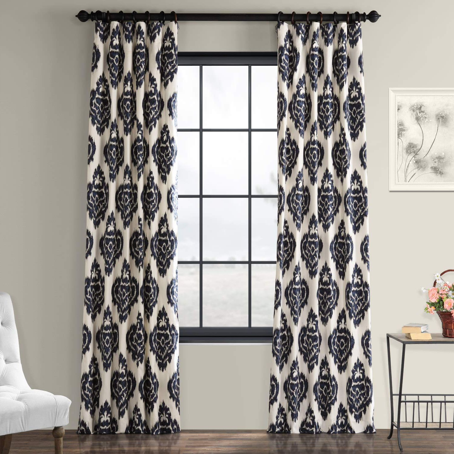 Best And Newest Ikat Blue Printed Cotton Curtain Panels Throughout Half Price Drapes Prtw D24a 84 Printed Cotton Curtain, Ikat Blue (View 9 of 20)