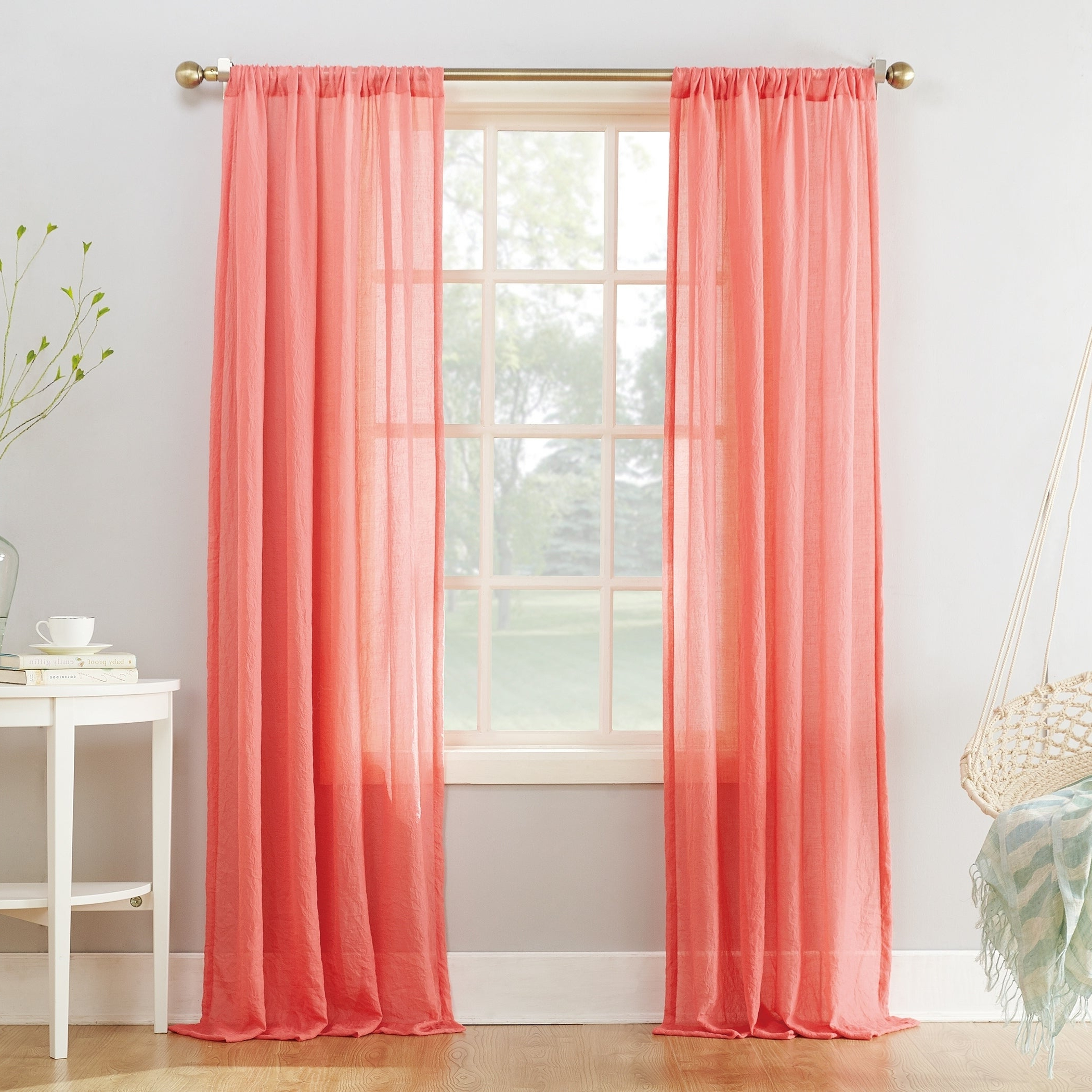 Best And Newest Ladonna Rod Pocket Solid Semi Sheer Window Curtain Panels Within No (View 3 of 20)