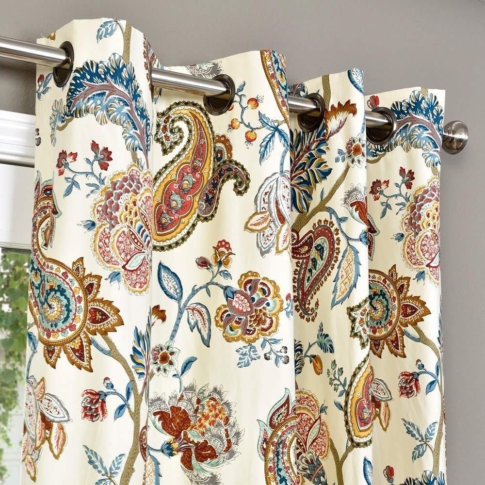 Best And Newest Lambrequin Boho Paisley Cotton Curtain Panel Ecru With Regard To Lambrequin Boho Paisley Cotton Curtain Panels (View 3 of 20)