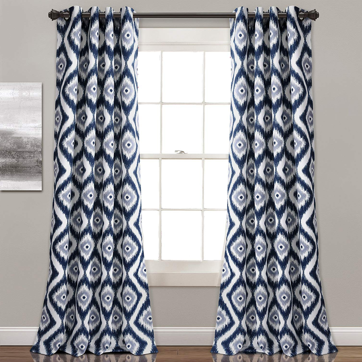 Best And Newest Lush Decor Lush Décor Diamond Ikat Room Darkening Window Curtain Panel Pair, 0, Navy For Ikat Blue Printed Cotton Curtain Panels (View 11 of 20)
