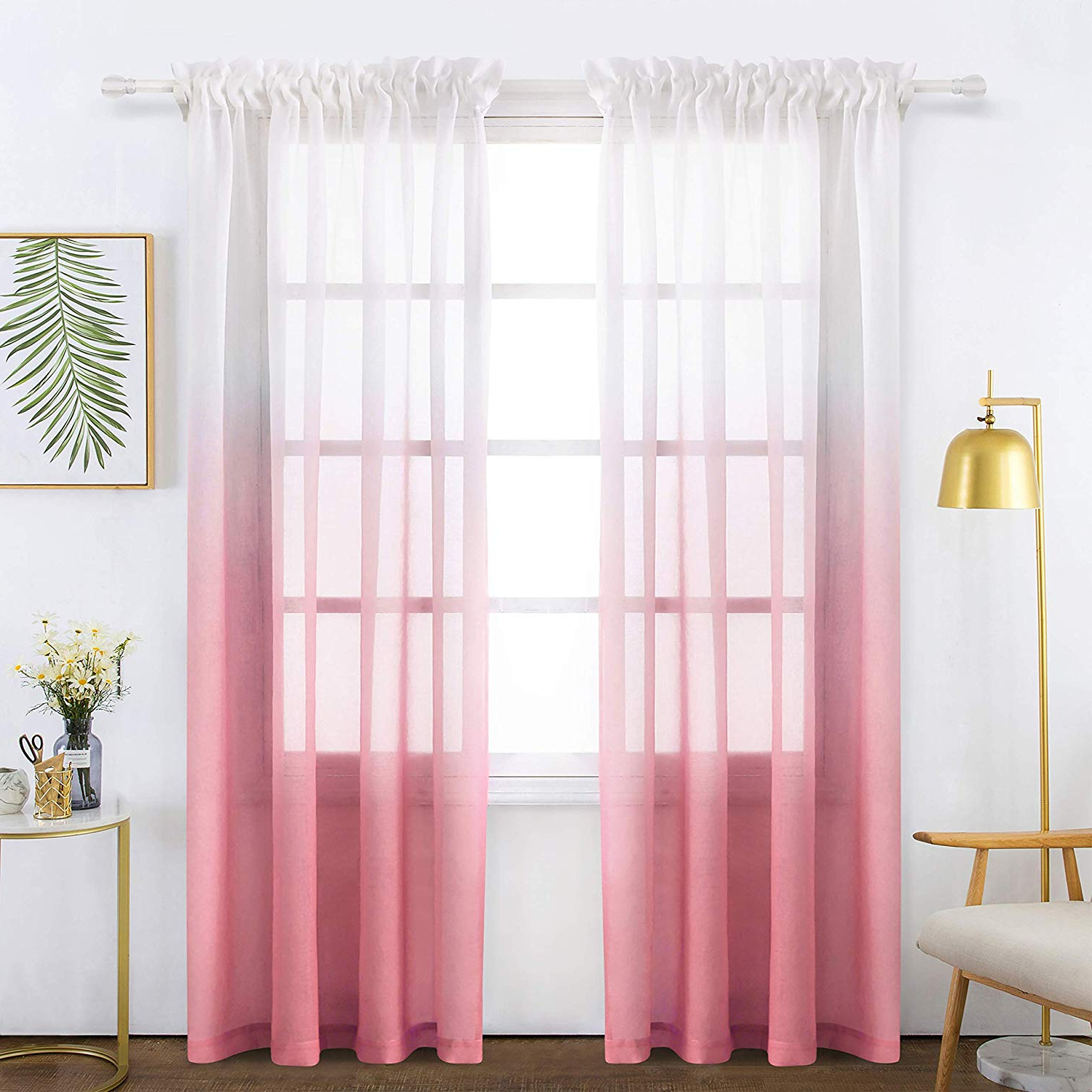 Best And Newest Ombre Faux Linen Semi Sheer Curtains In Bermino Faux Linen Pink Gradient Sheer Curtains Voile Rod Pocket Ombre Semi Sheer Curtains For Bedroom Living Room Set Of 2 Curtain Panels 54 X (View 12 of 20)