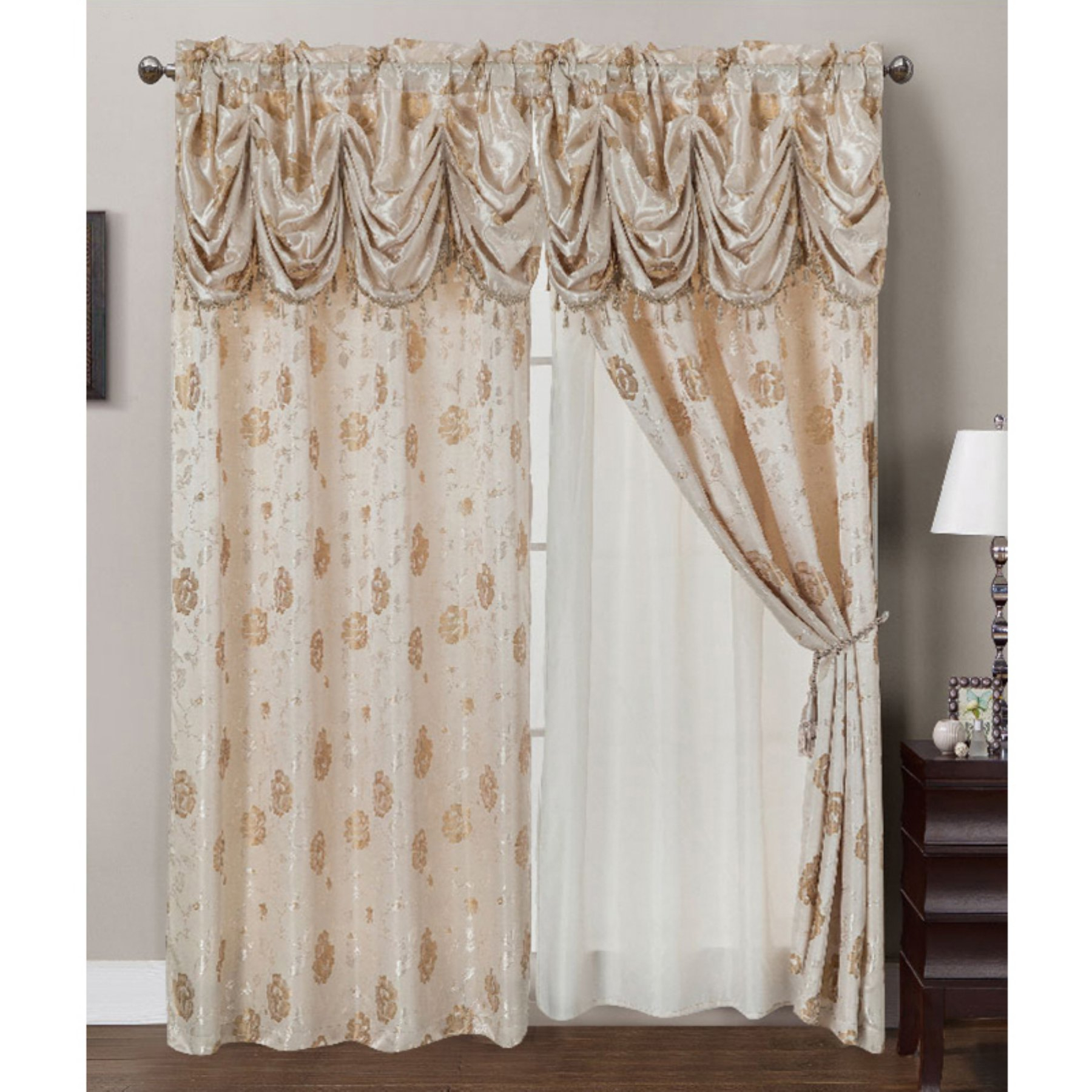 Best And Newest Rt Designers Collection Kelly Jacquard Double Rod Pocket Regarding Elegant Comfort Luxury Penelopie Jacquard Window Curtain Panel Pairs (View 15 of 20)