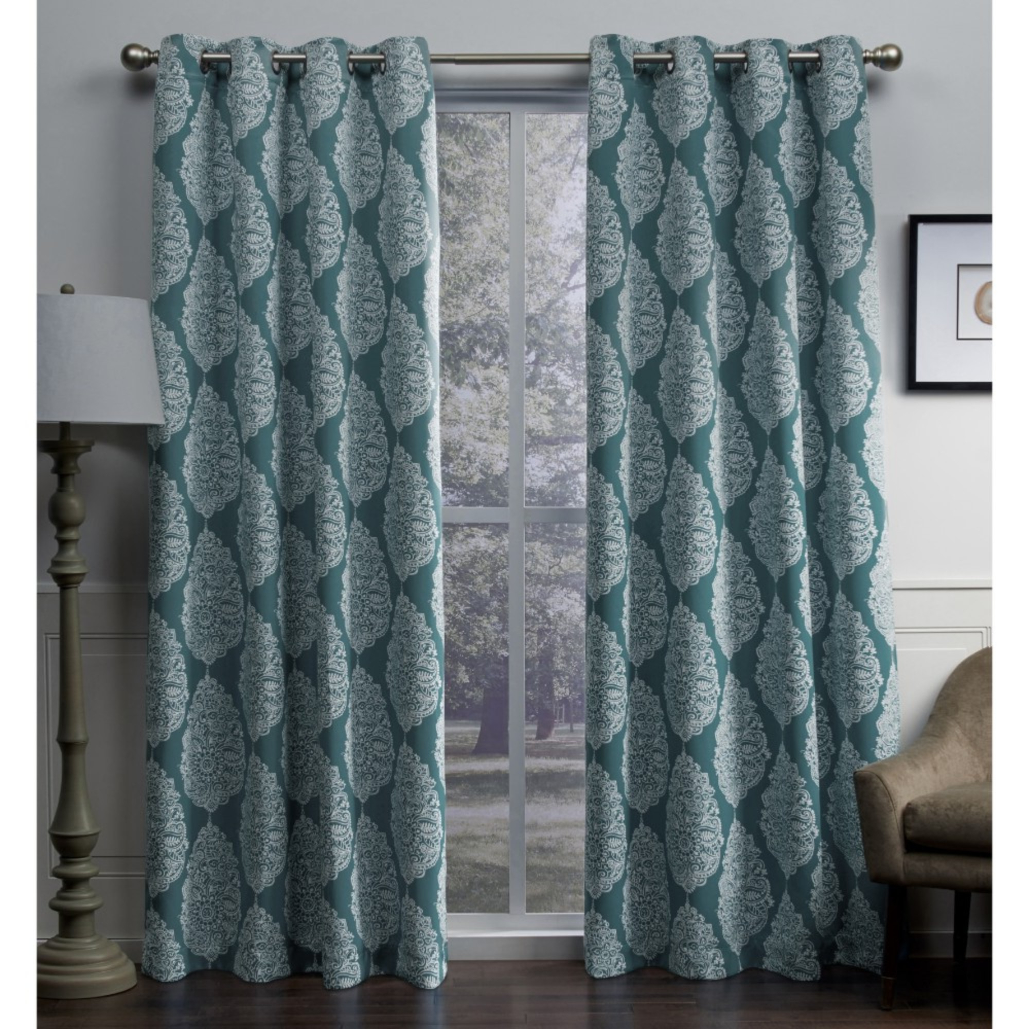Best And Newest Sateen Twill Weave Insulated Blackout Window Curtain Panel Pairs In Exclusive Home Queensland Printed Medallion Woven Sateen Woven Window Curtain Panel Pair With Grommet Top (View 15 of 20)