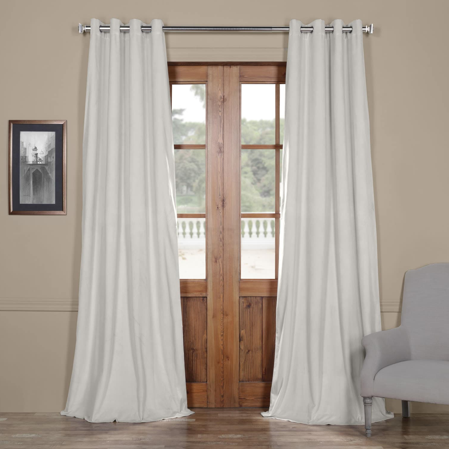Best And Newest Signature Blackout Velvet Curtains In Signature Reflection Grey Grommet Blackout Velvet Curtain (View 12 of 20)