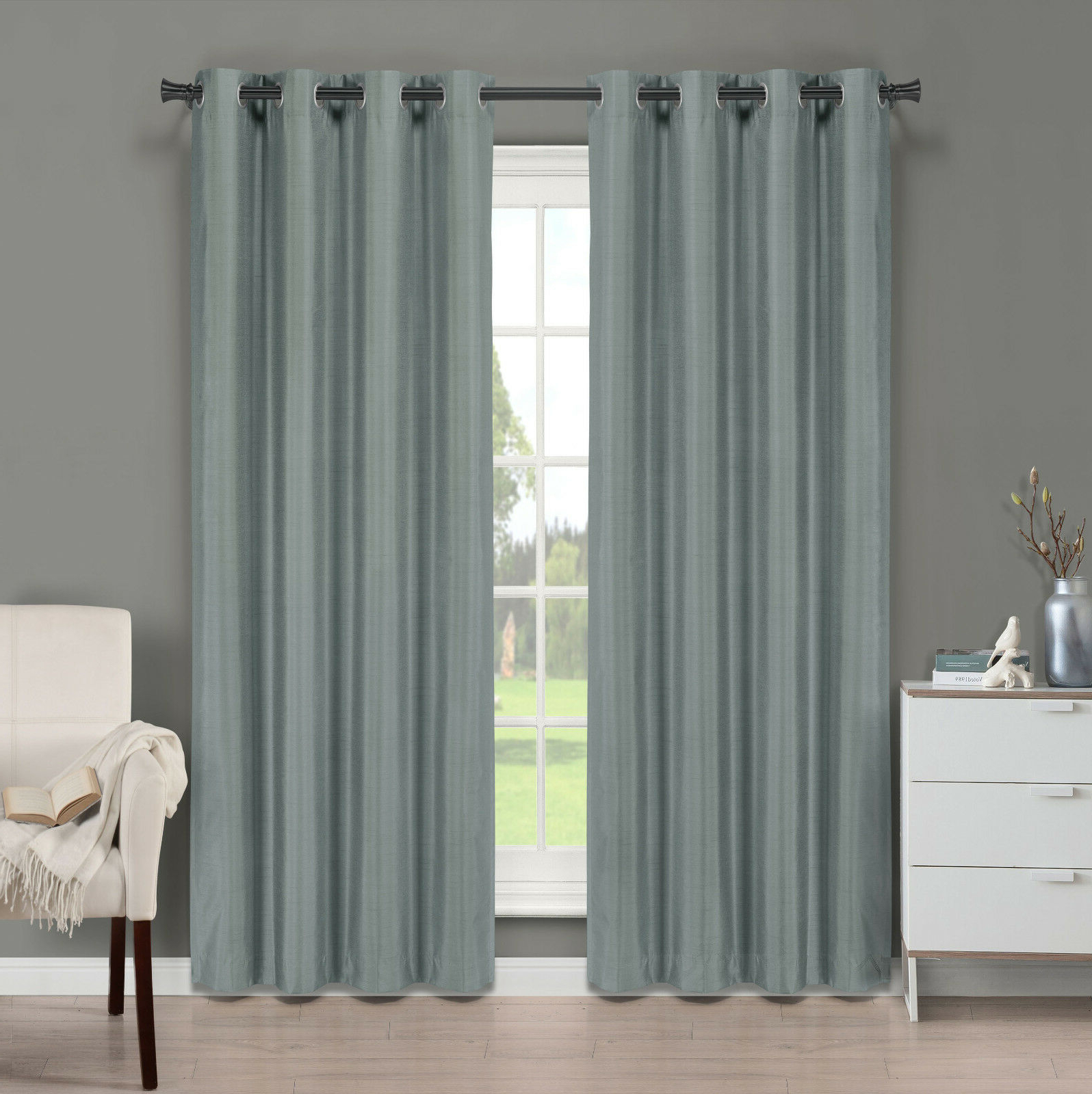 Best And Newest Softline Trenton Grommet Top Curtain Panels Regarding Brielle Fortune Faux Dupioni Silk Lined Curtain Panel (View 4 of 20)
