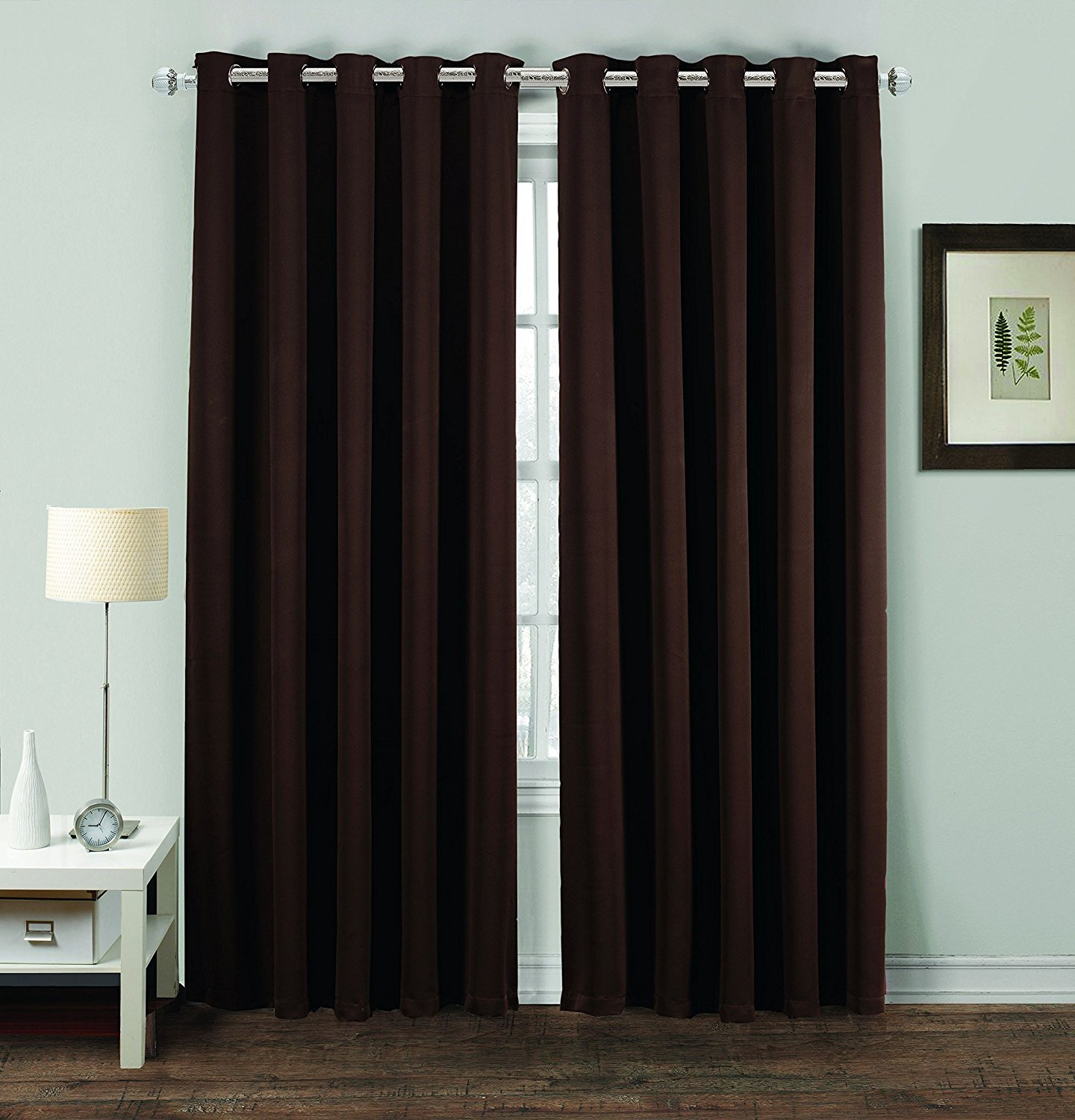 "Best And Newest Thermal Insulated Blackout Curtain Pairs Within Noah's Linen Thermal Insulated Blackout Curtain Pair Eyelet Ring Top Including Tie Backs 46"" (width) X 72"" (drop) Chocolate (View 6 of 20)"