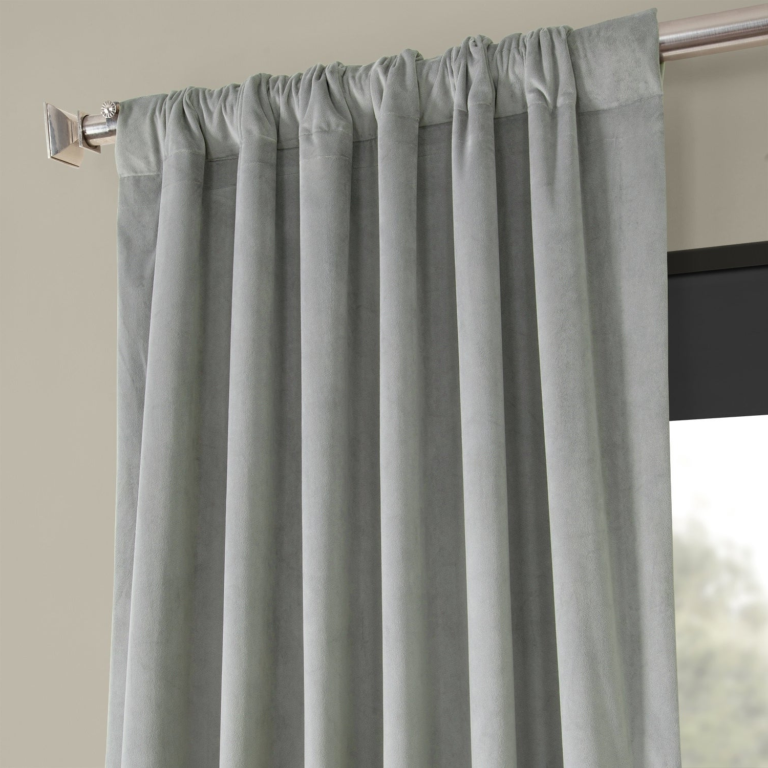 Best And Newest Velvet Dream Silver Curtain Panel Pairs Within Exclusive Fabrics Signature Silver Grey Velvet Blackout Curtain Panel (View 6 of 20)