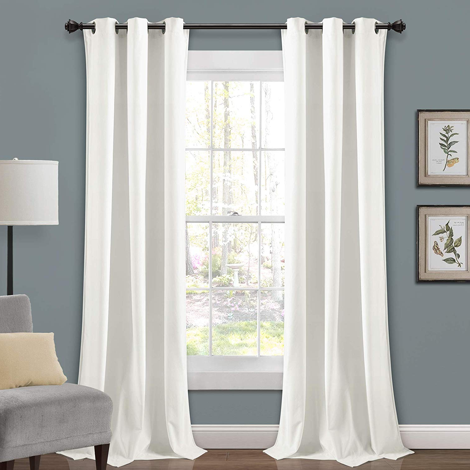 """Best And Newest Velvet Solid Room Darkening Window Curtain Panel Sets Intended For Lush Decor Prima Velvet Curtains Solid Color Room Darkening Window Panel Set For Living, Dining, Bedroom (pair), 84"""" X 38"""", White, L (View 15 of 20)"""