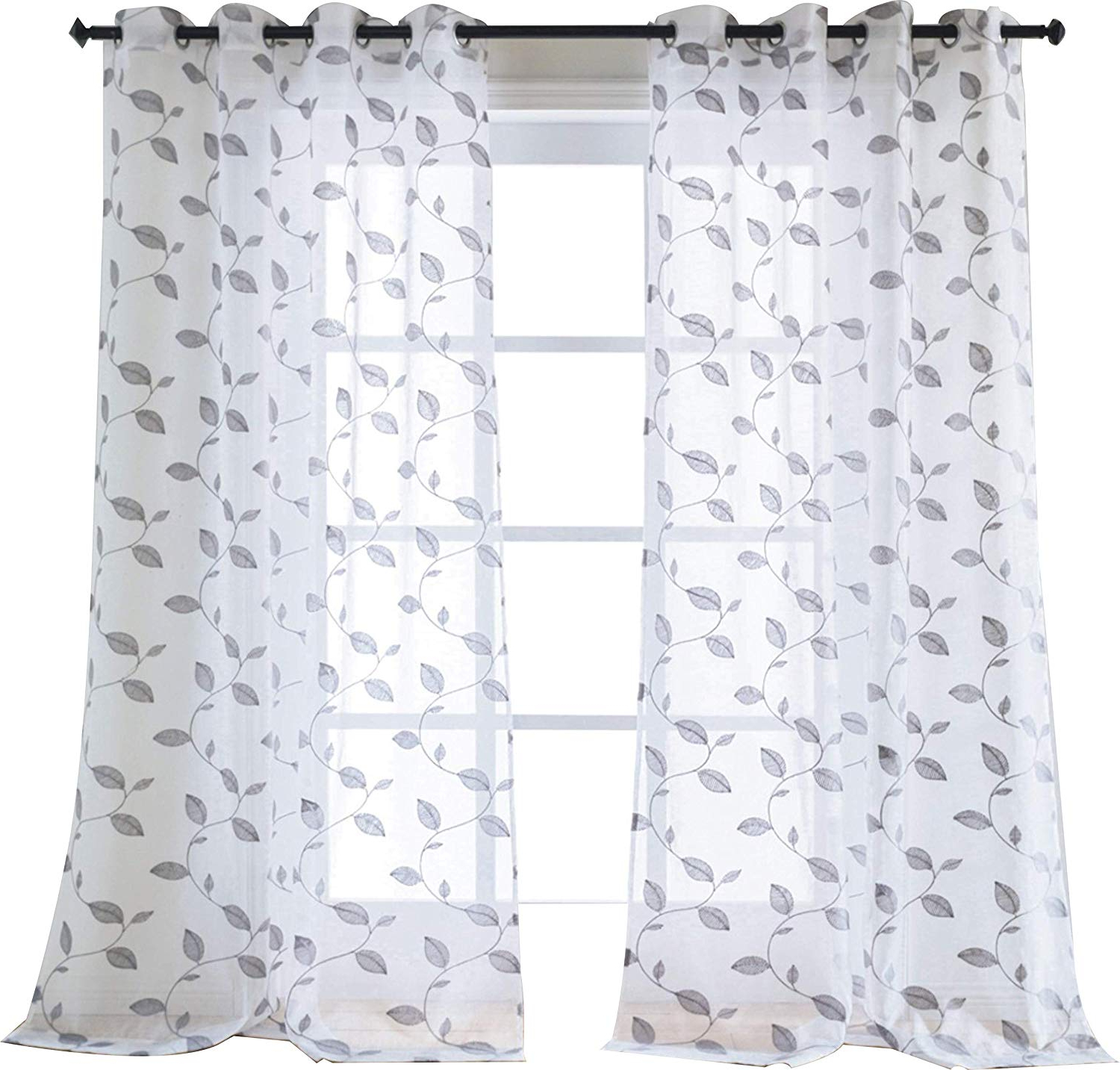 Best And Newest Wavy Leaves Embroidered Sheer Extra Wide Grommet Curtain Panels Pertaining To Amazon: Taisier Home Leaves Embroidered Semi Sheer Voile (View 19 of 20)
