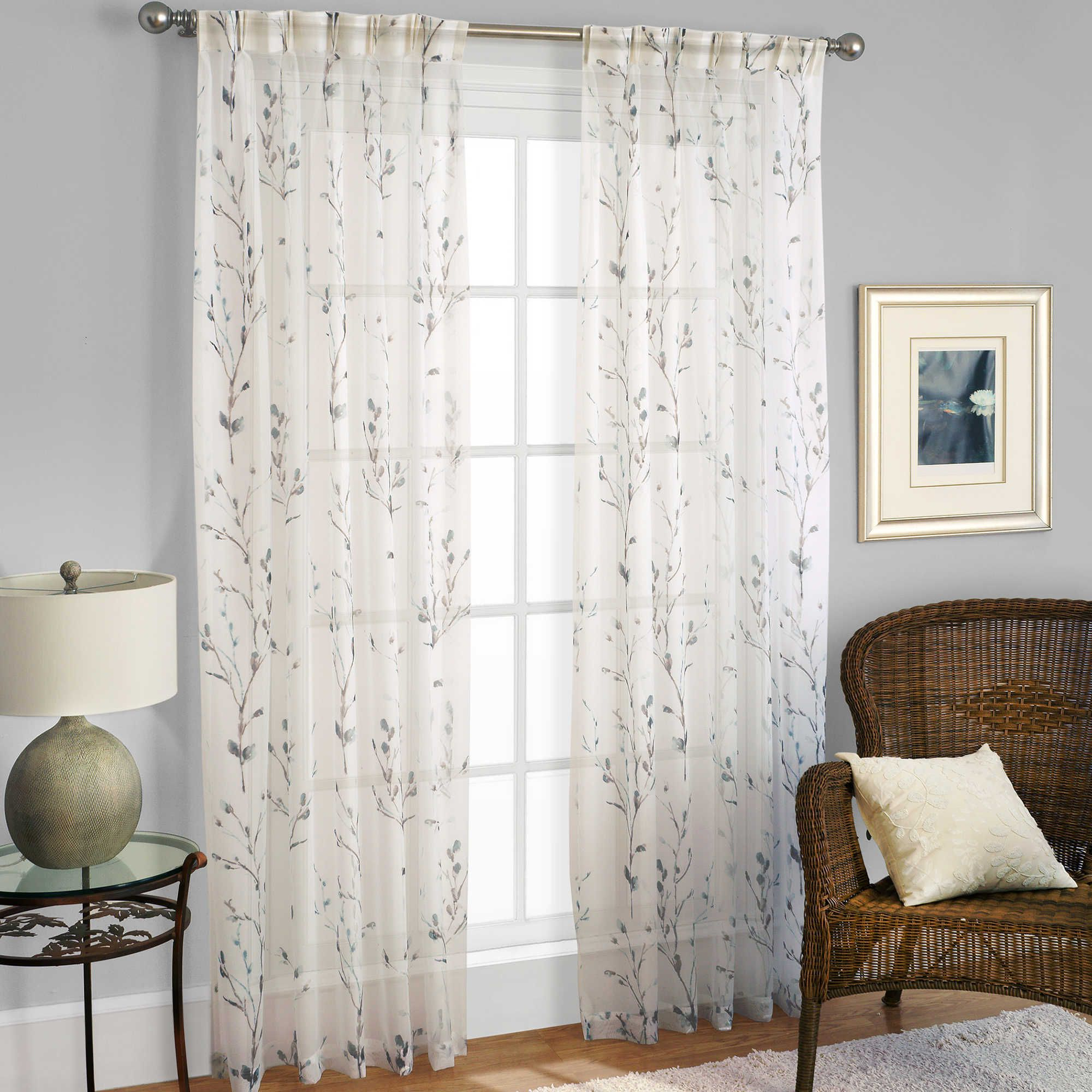 Best And Newest Willow Rod Pocket Window Curtain Panels Pertaining To Willow Print Pinch Pleat 63 Inch Sheer Window Curtain Panel (View 17 of 20)