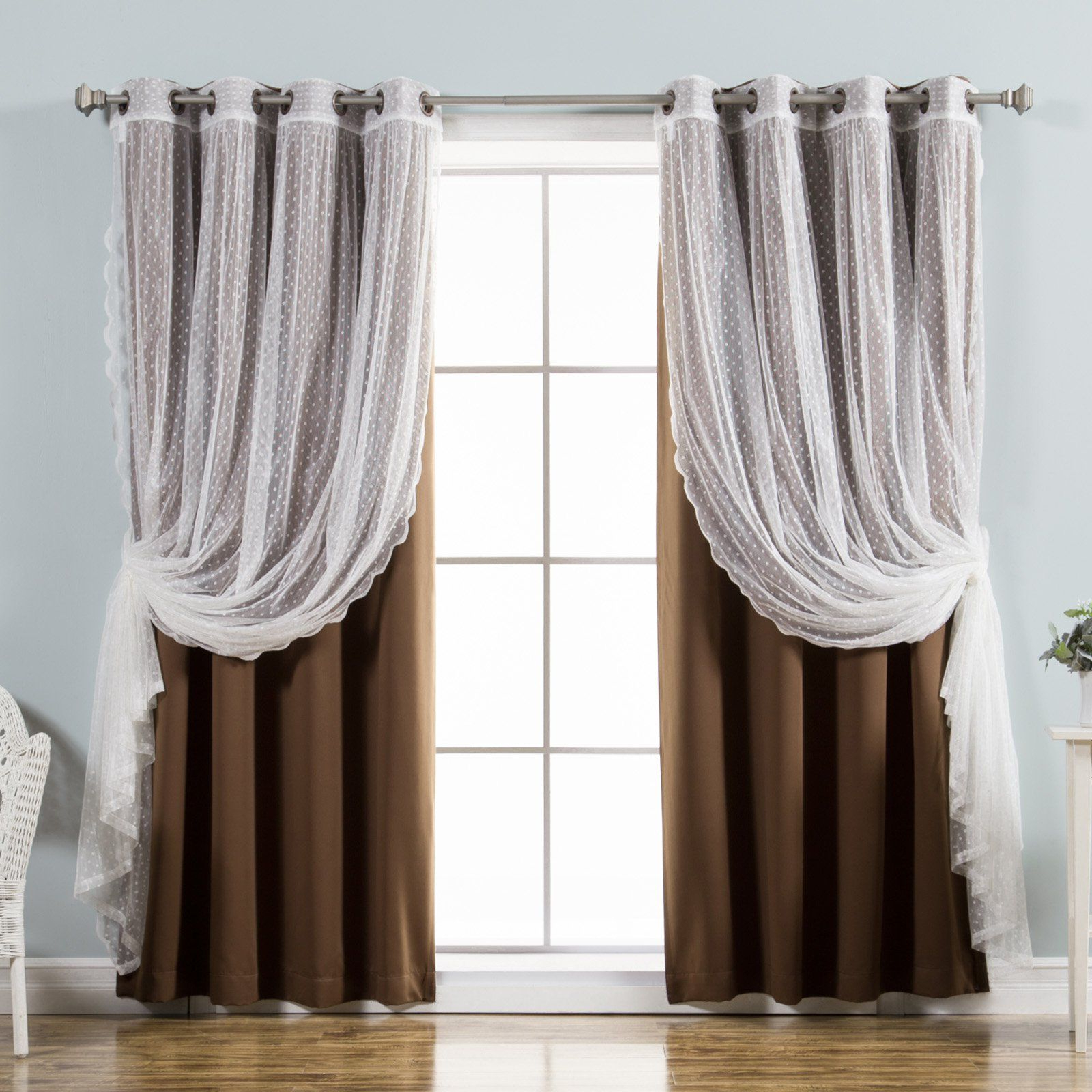 Best Home Fashion Dotted Tulle Blackout Mix & Match Curtain With Regard To Well Known Mix And Match Blackout Blackout Curtains Panel Sets (View 6 of 20)