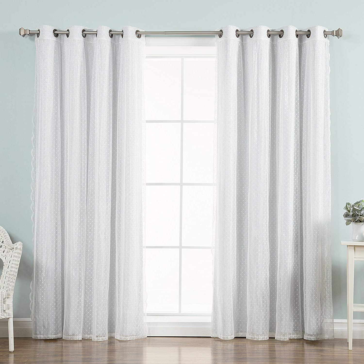 """Best Home Fashion Mix & Match Dotted Tulle Lace & Solid Blackout Curtain Set – Antique Bronze Grommet Top – Vapor – 52""""w X 84""""l – (2 Curtains And 2 In Preferred Mix & Match Blackout Tulle Lace Bronze Grommet Curtain Panel Sets (View 13 of 20)"""