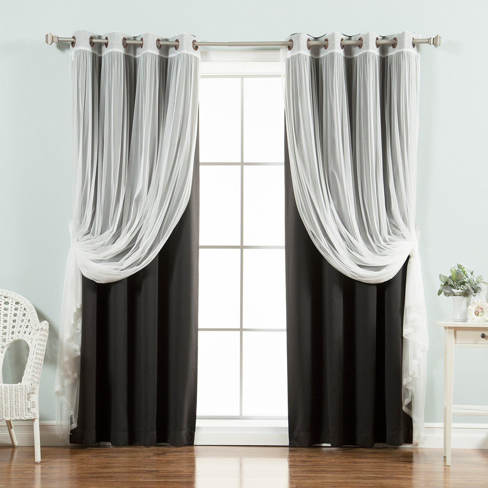 Best Home Fashion Mix & Match Tulle Sheer Lace Blackout Pertaining To Most Popular Mix And Match Blackout Tulle Lace Sheer Curtain Panel Sets (View 20 of 20)