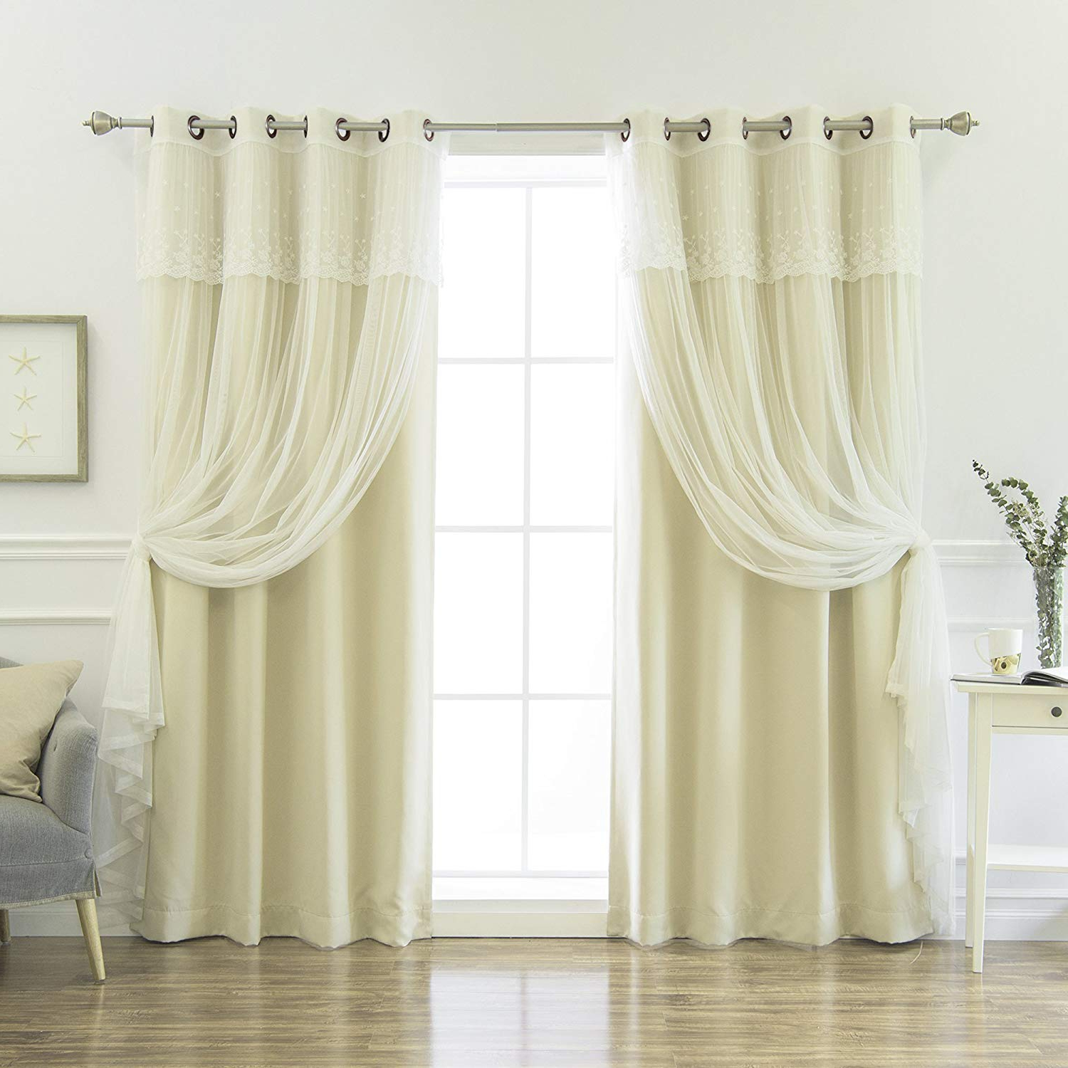 "Best Home Fashion Mix & Match Tulle Sheer With Attached Valance & Solid Blackout Curtain Set – Stainless Steel Nickel Grommet Top – Beige – 52"" W X Pertaining To Most Current Tulle Sheer With Attached Valance And Blackout 4 Piece Curtain Panel Pairs (View 15 of 20)"