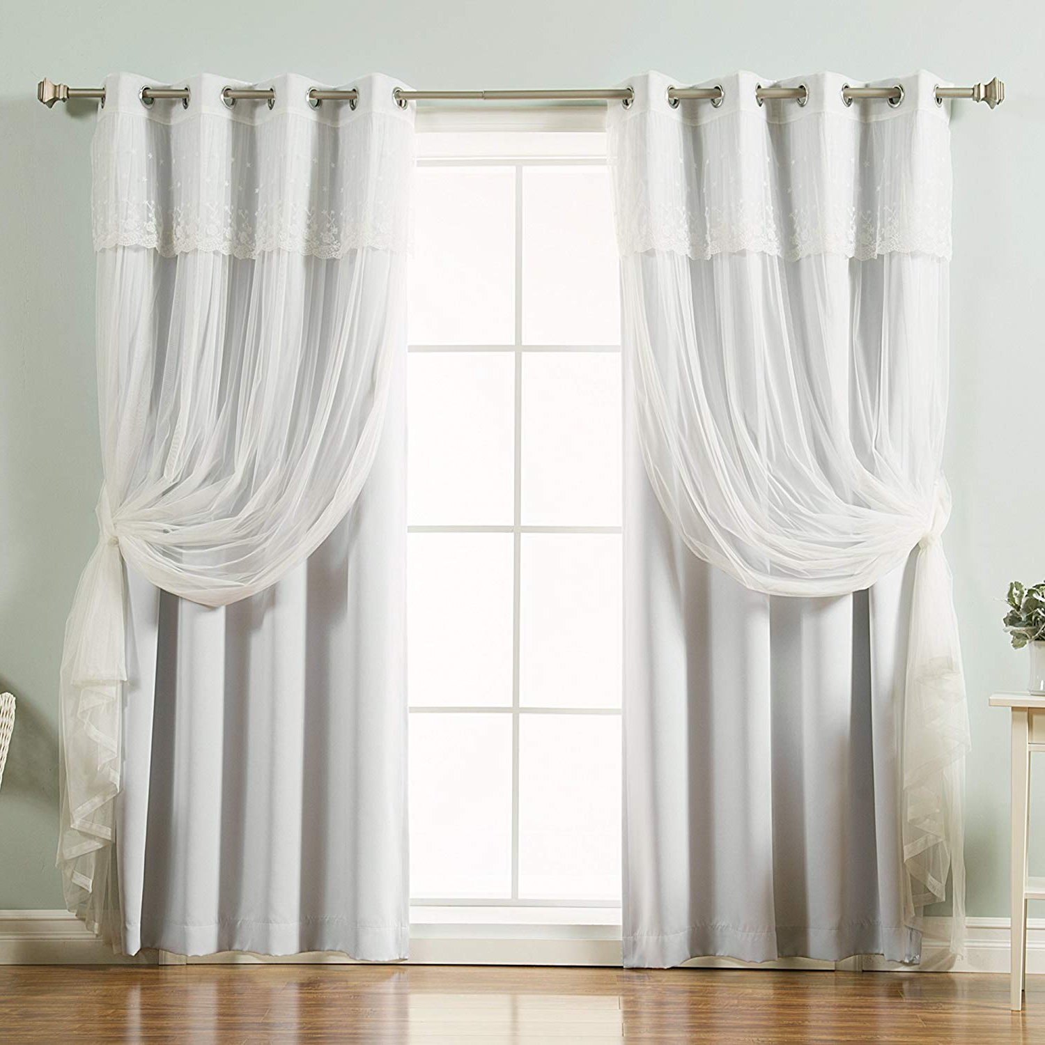"Best Home Fashion Mix & Match Tulle Sheer With Attached Valance & Solid Blackout Curtain Set – Stainless Steel Nickel Grommet Top – Vapor – 52""w X Within Recent Tulle Sheer With Attached Valance And Blackout 4 Piece Curtain Panel Pairs (View 7 of 20)"