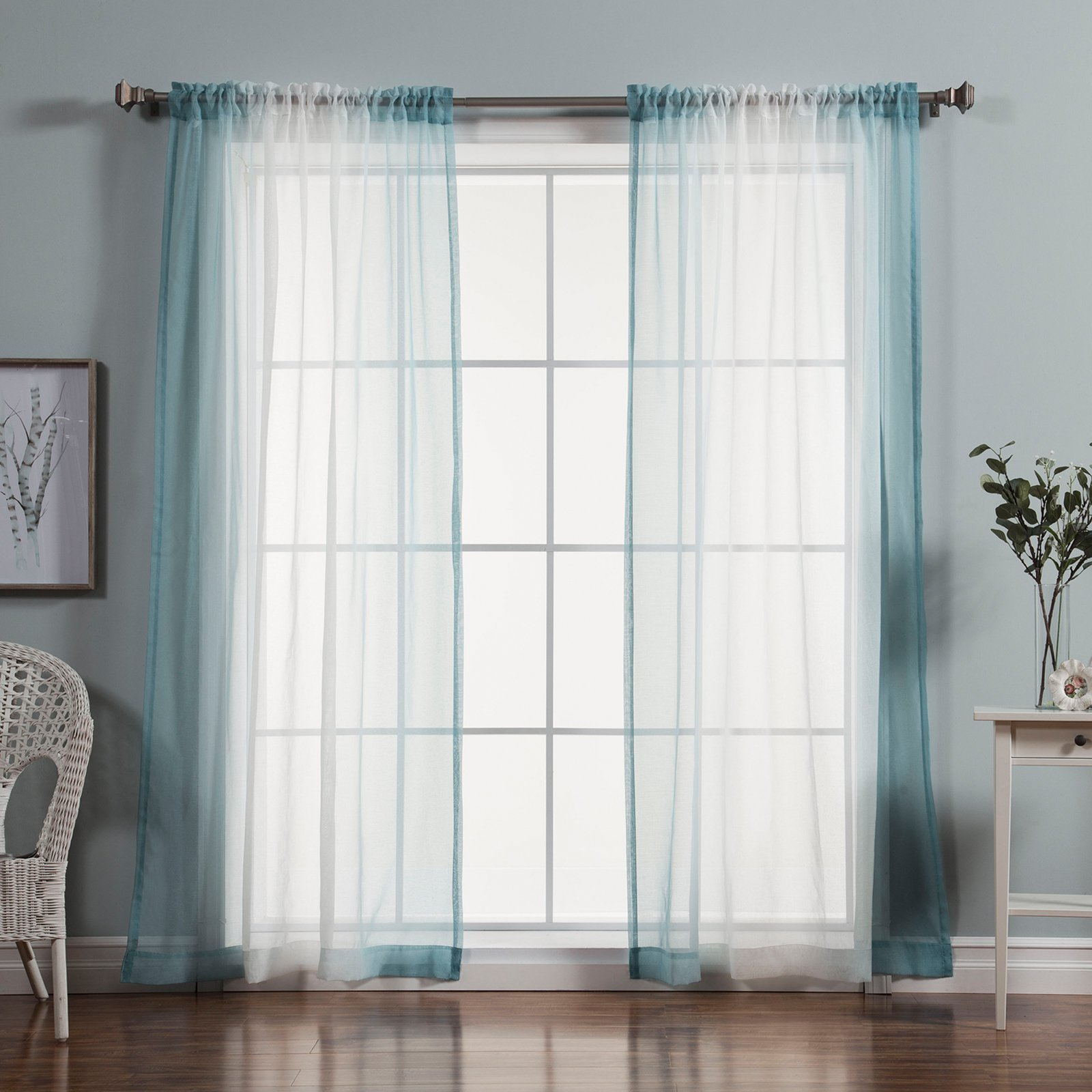 Best Home Fashion Sheer Faux Linen Ombre Border Curtains Within Widely Used Ombre Faux Linen Semi Sheer Curtains (View 4 of 20)