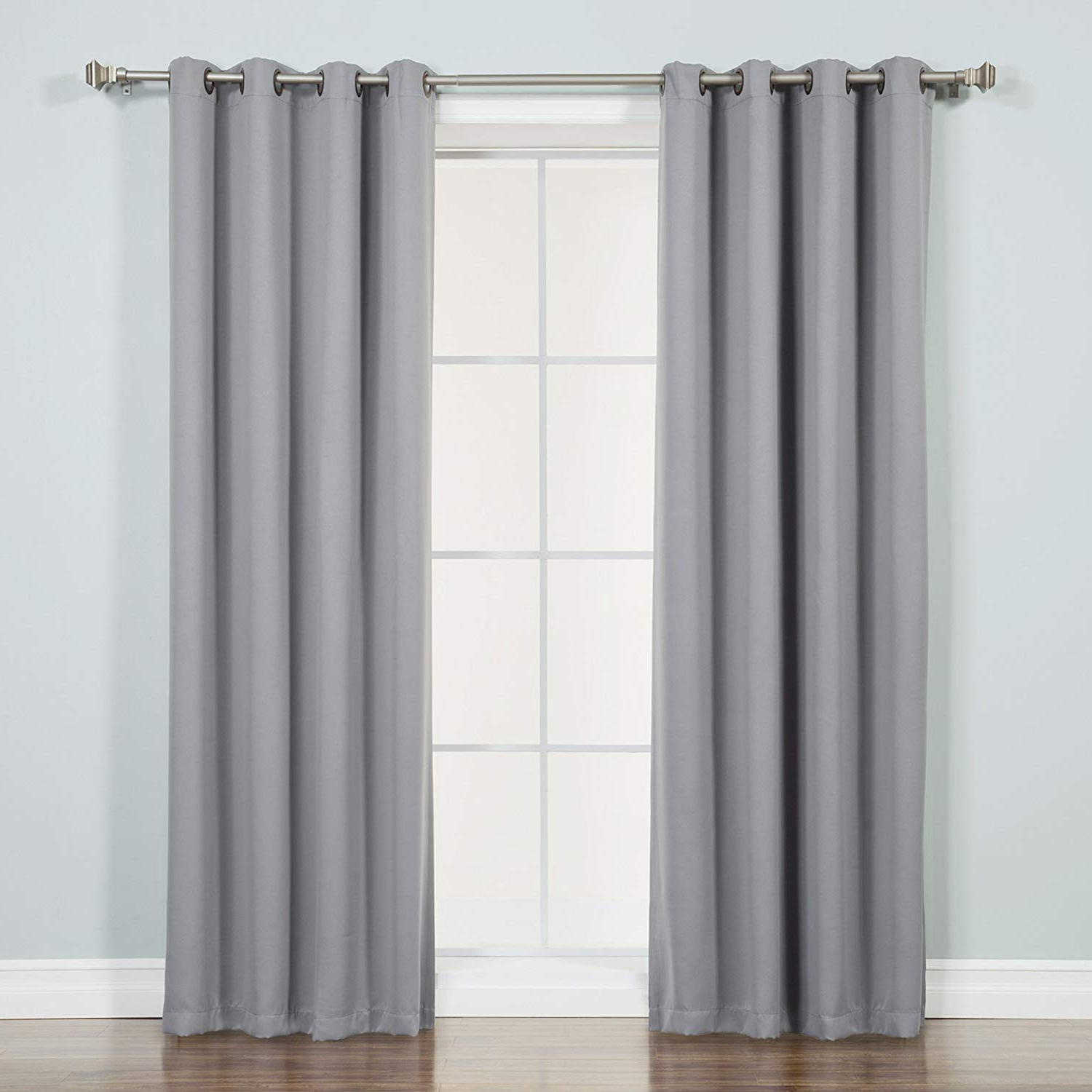 "Best Home Fashion Thermal Insulated Blackout Curtains – Antique Bronze Grommet Top – Grey – 52""w X 72""l – (set Of 2 Panels) Intended For Most Popular Antique Silver Grommet Top Thermal Insulated Blackout Curtain Panel Pairs (View 11 of 20)"