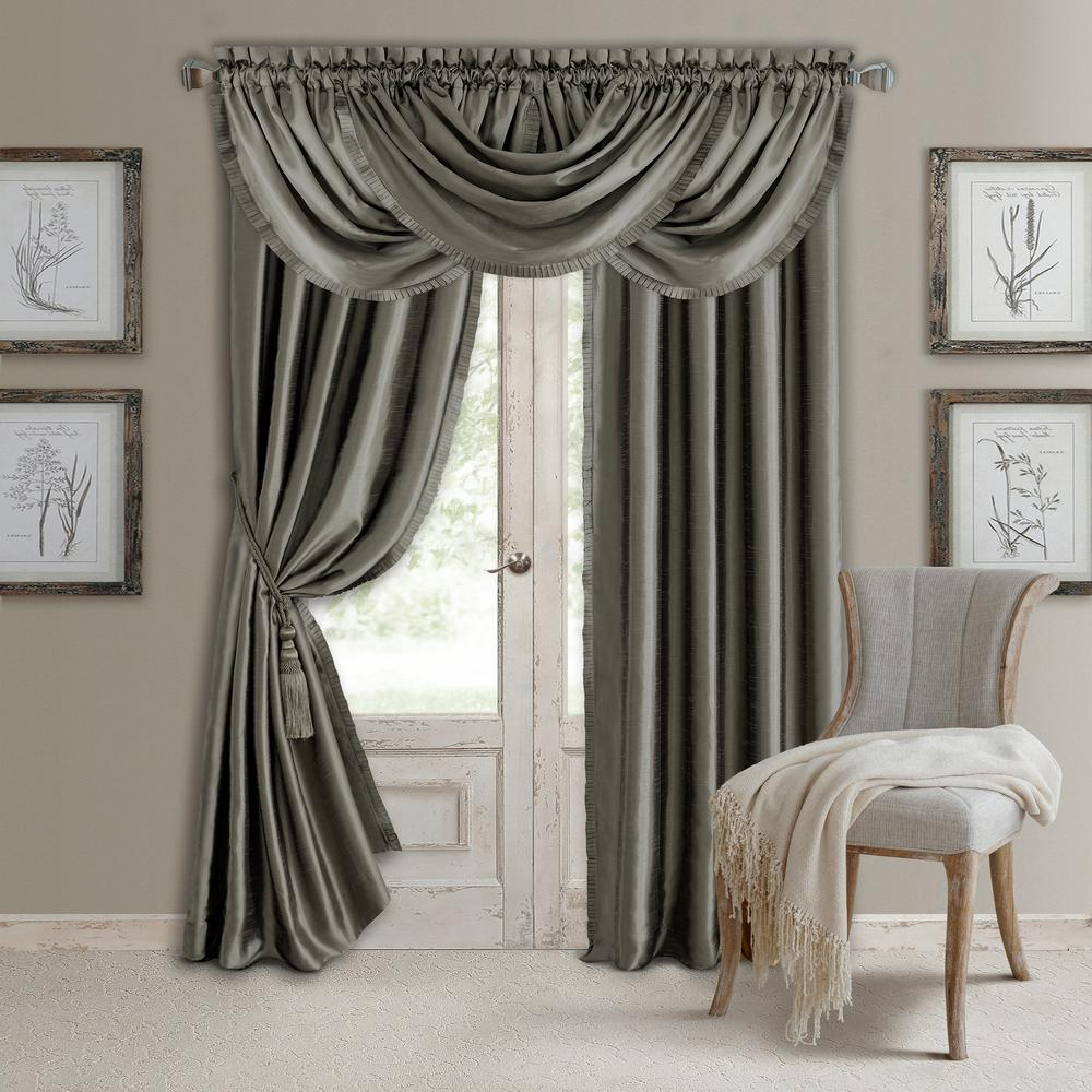 Bethany Sheer Overlay Blackout Window Curtains Pertaining To Best And Newest Elrene Versailles Faux Silk Blackout Window Curtain (View 14 of 20)
