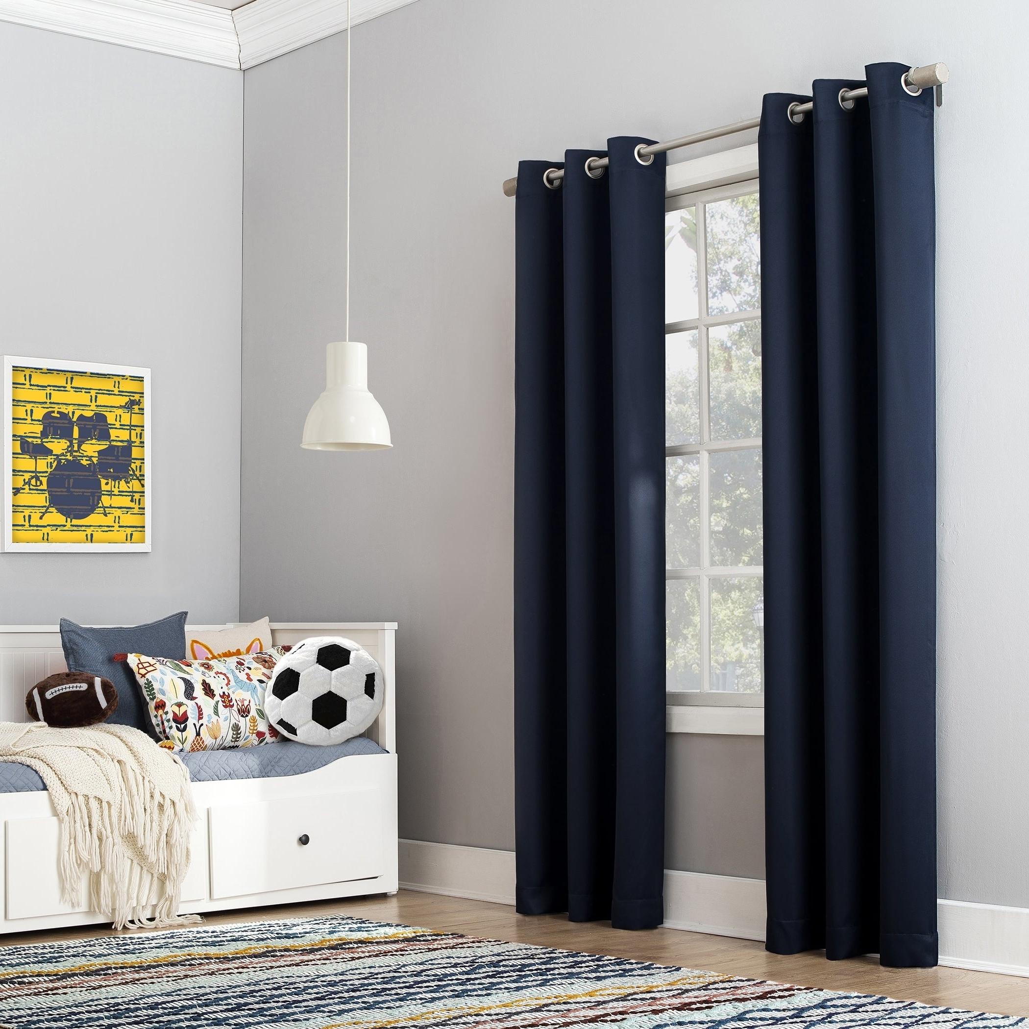 Blackout Grommet Curtain Panels For Famous Details About Sun Zero Riley Kids Bedroom Blackout Grommet Curtain Panel (View 18 of 20)