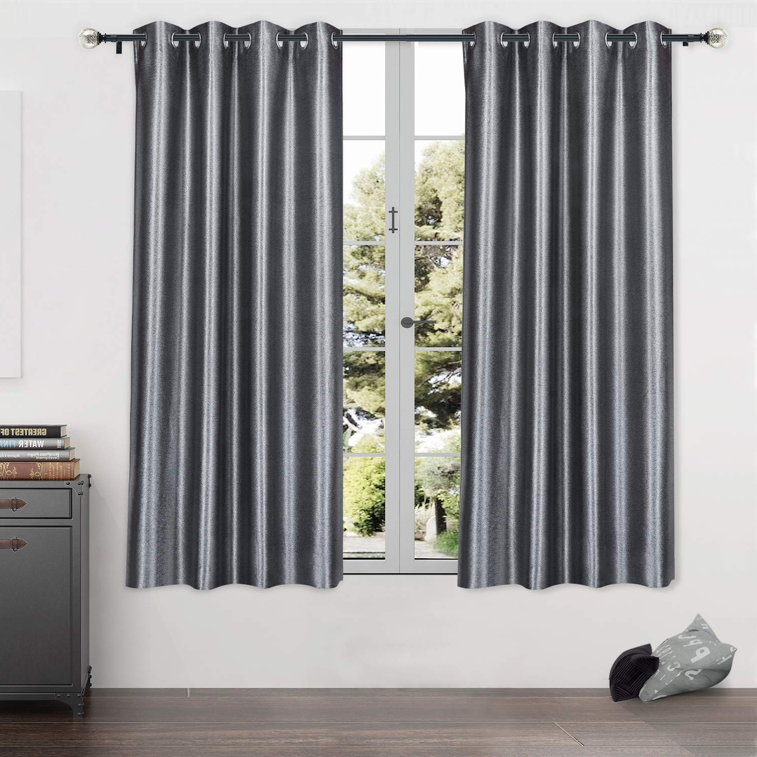 Blackout Grommet Curtain Panels Regarding Most Recently Released Kamanina Blackout Curtain Panels Grommet Window Curtains For Room  Darkening, Thermal Insulated Blackout Window Drapes, 2 Panels Set (Grey, 52  X  (View 5 of 20)