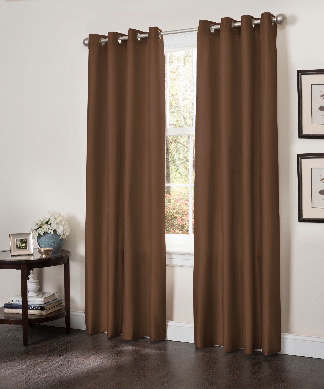 """Blackout Window Curtain Panel, 54"""" X 90"""", Faux Silk Thermal Insulated Grommet Top, Erin, 1 Panel (Chocolate) In 2020 Thermal Insulated Blackout Grommet Top Curtain Panel Pairs (View 5 of 20)"""