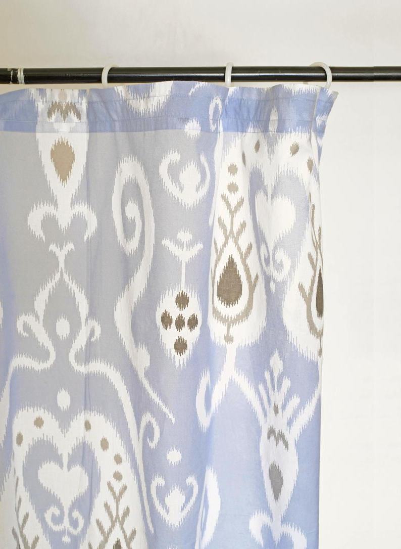 Blue Ikat Curtain Panel, Cotton Voile, Printed Curtain, Sheer Drape, Sizes Available In Widely Used Ikat Blue Printed Cotton Curtain Panels (View 13 of 20)